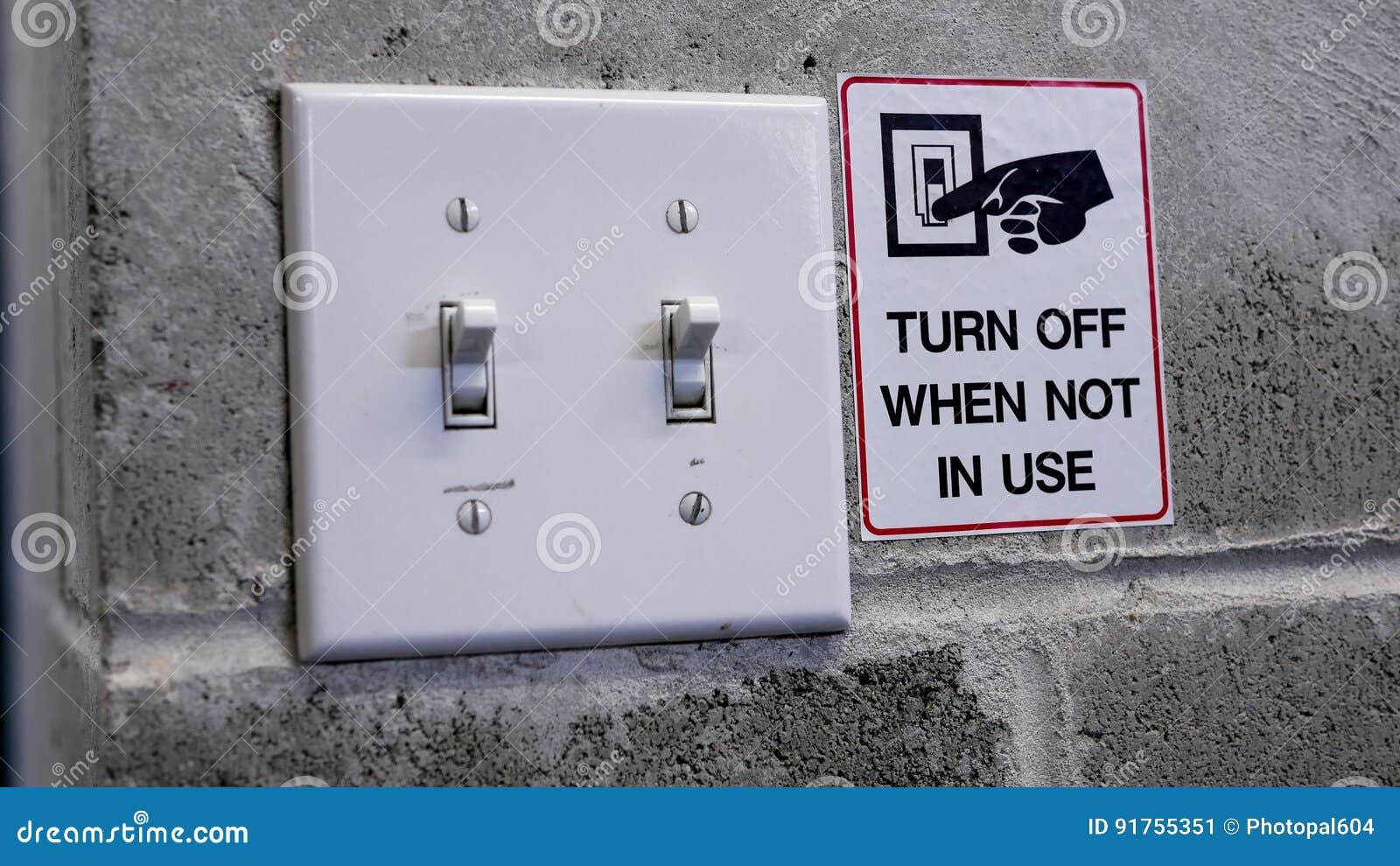Desligue o interruptor da luz salvar o conceito do poder