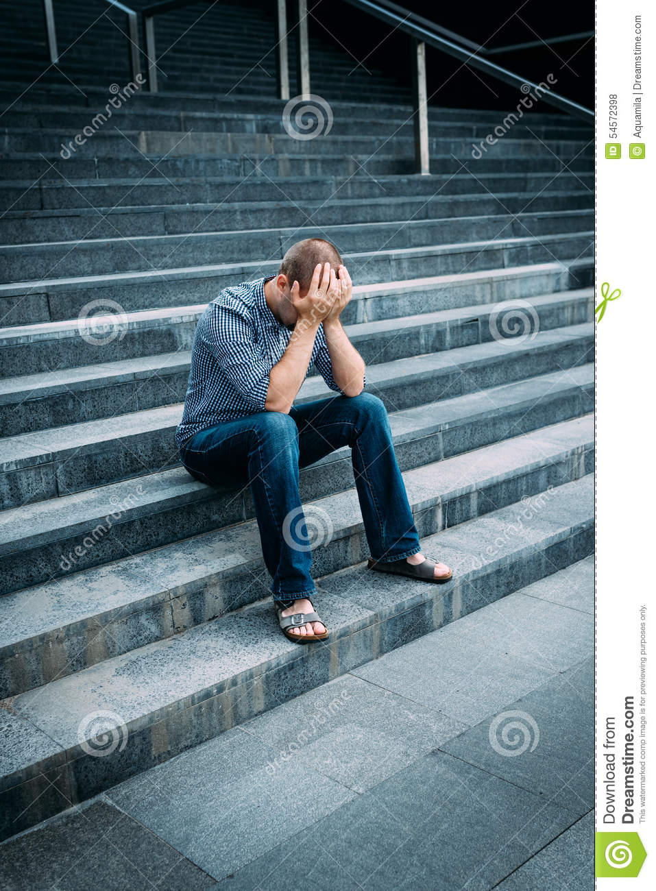 Despaired young man covering his face with hands sitting on stairs