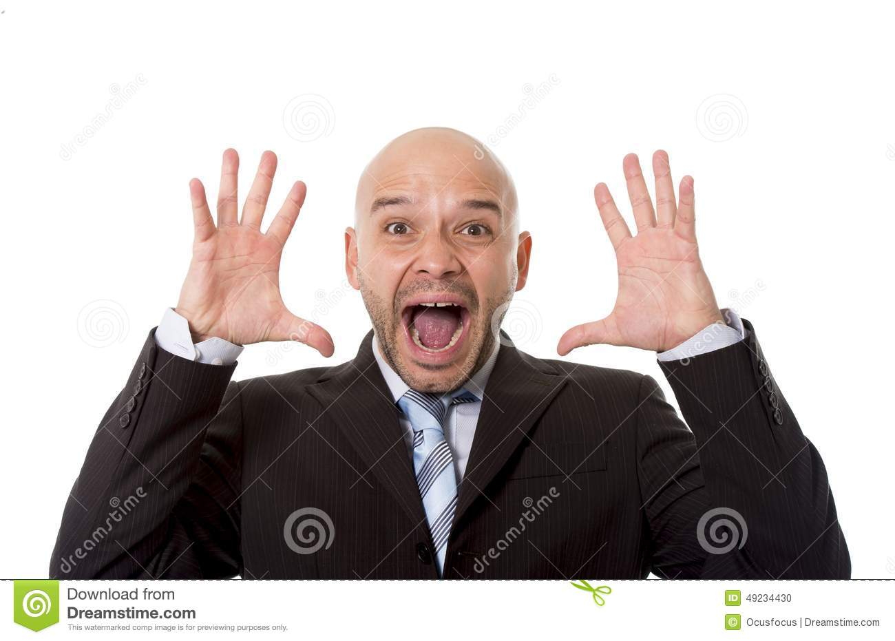 Desperate Brazilian bald businessman screaming and shouting crazy stress with mad face expression in overwork concept