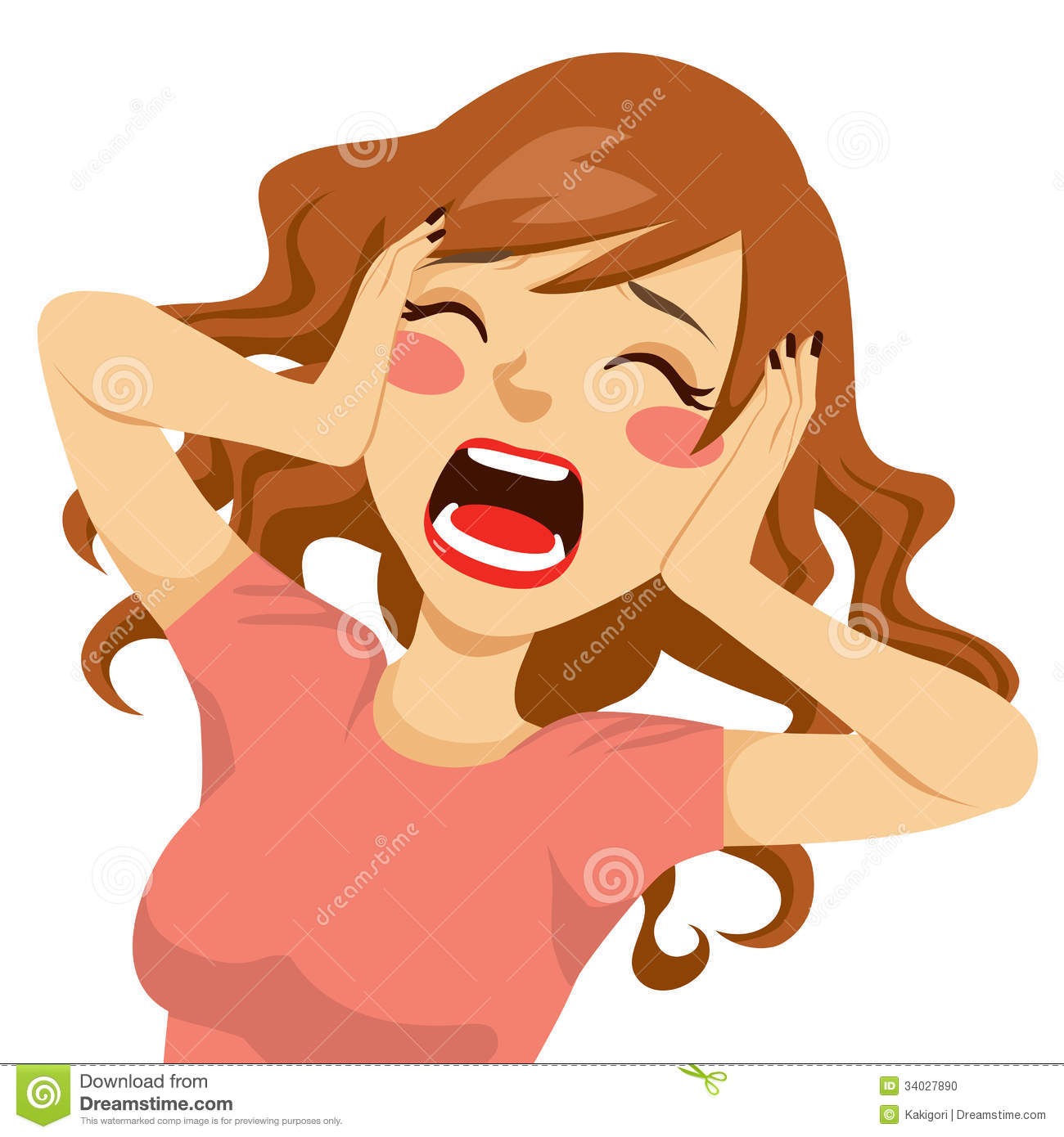 Desperate Screaming Woman Stock Vector Illustration Of