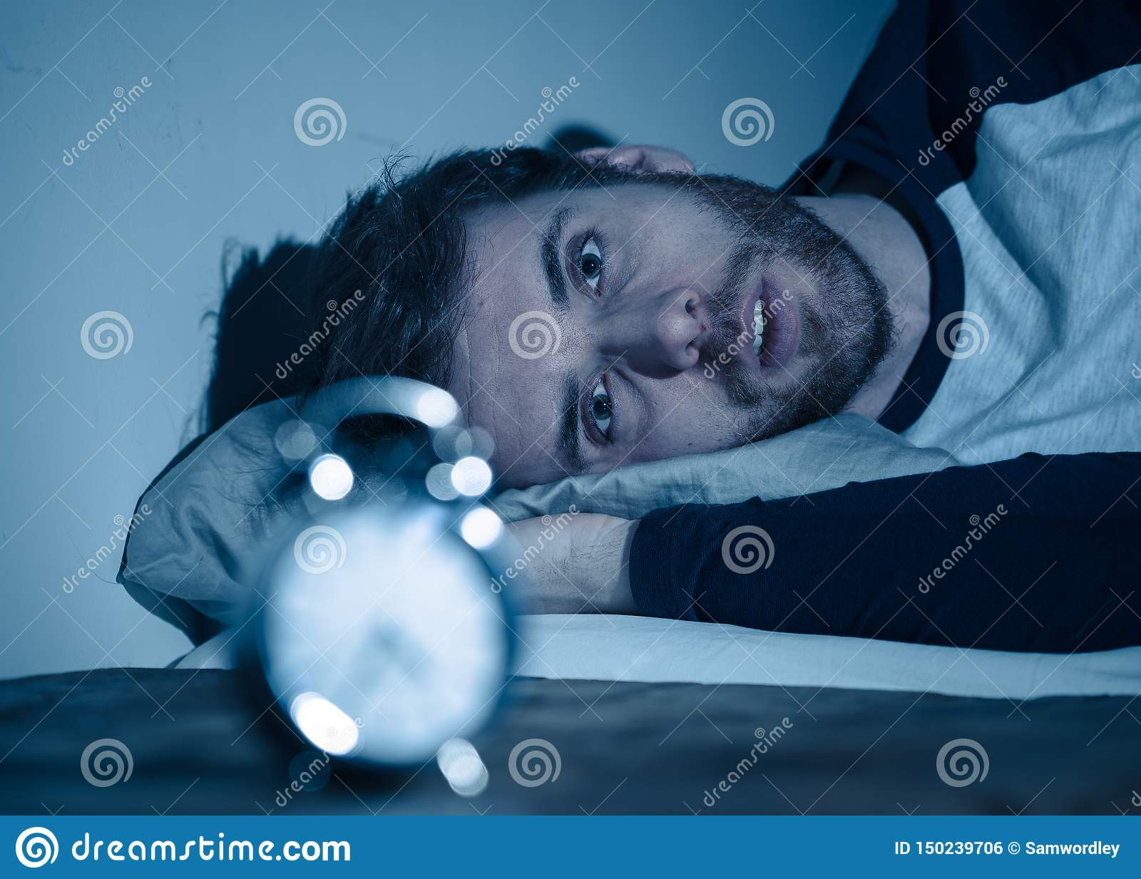 Superb Desperate Stressed Young Man Whit Insomnia Lying In Bed Pabps2019 Chair Design Images Pabps2019Com