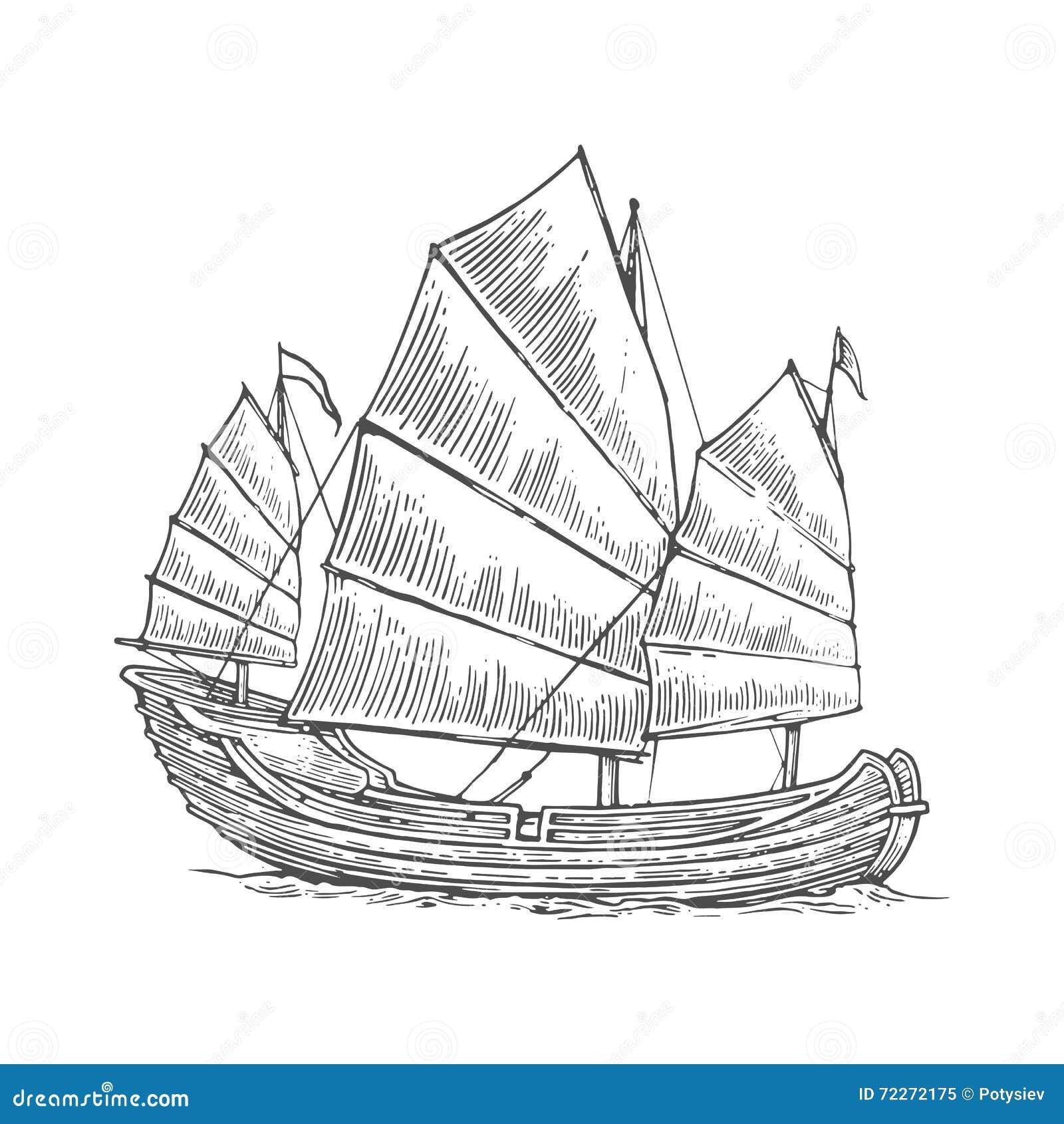 Desperdicios Que Flotan En Las Ondas Del Mar Velero Dibujado Mano ...