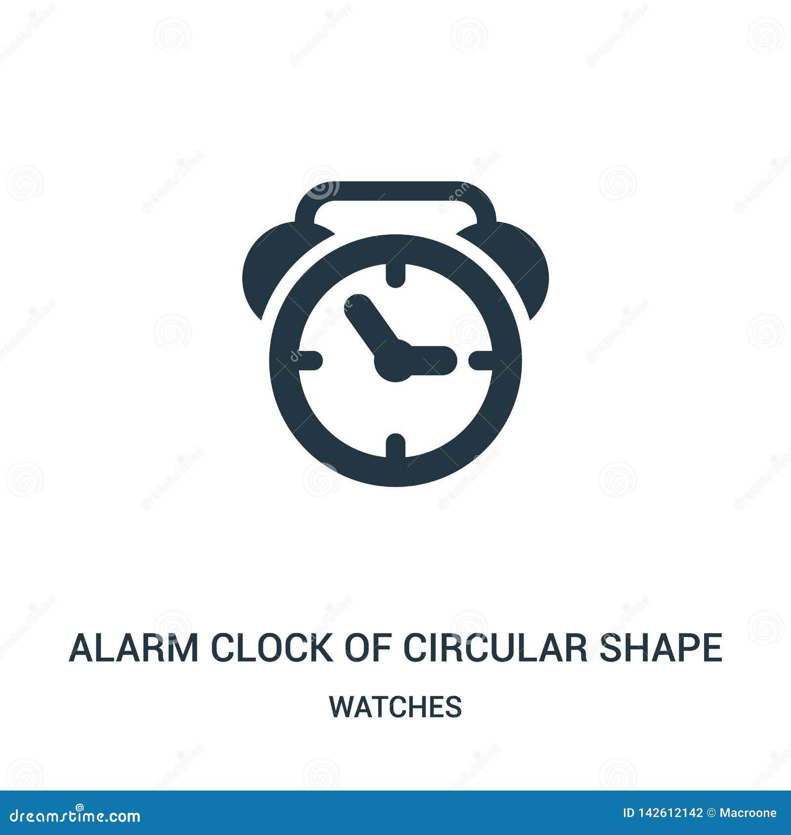 Despertador del vector del icono de la forma circular de la colecci?n de relojes L?nea fina despertador de vector del icono del e
