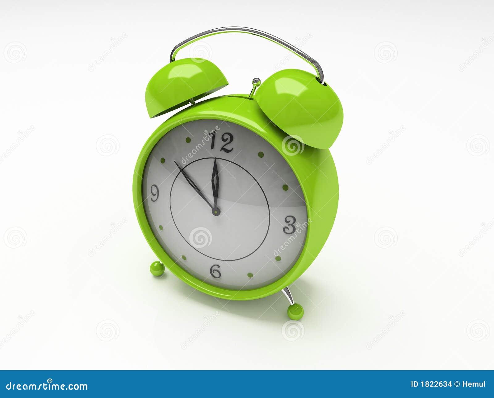 Despertador verde isolado no fundo branco 3D