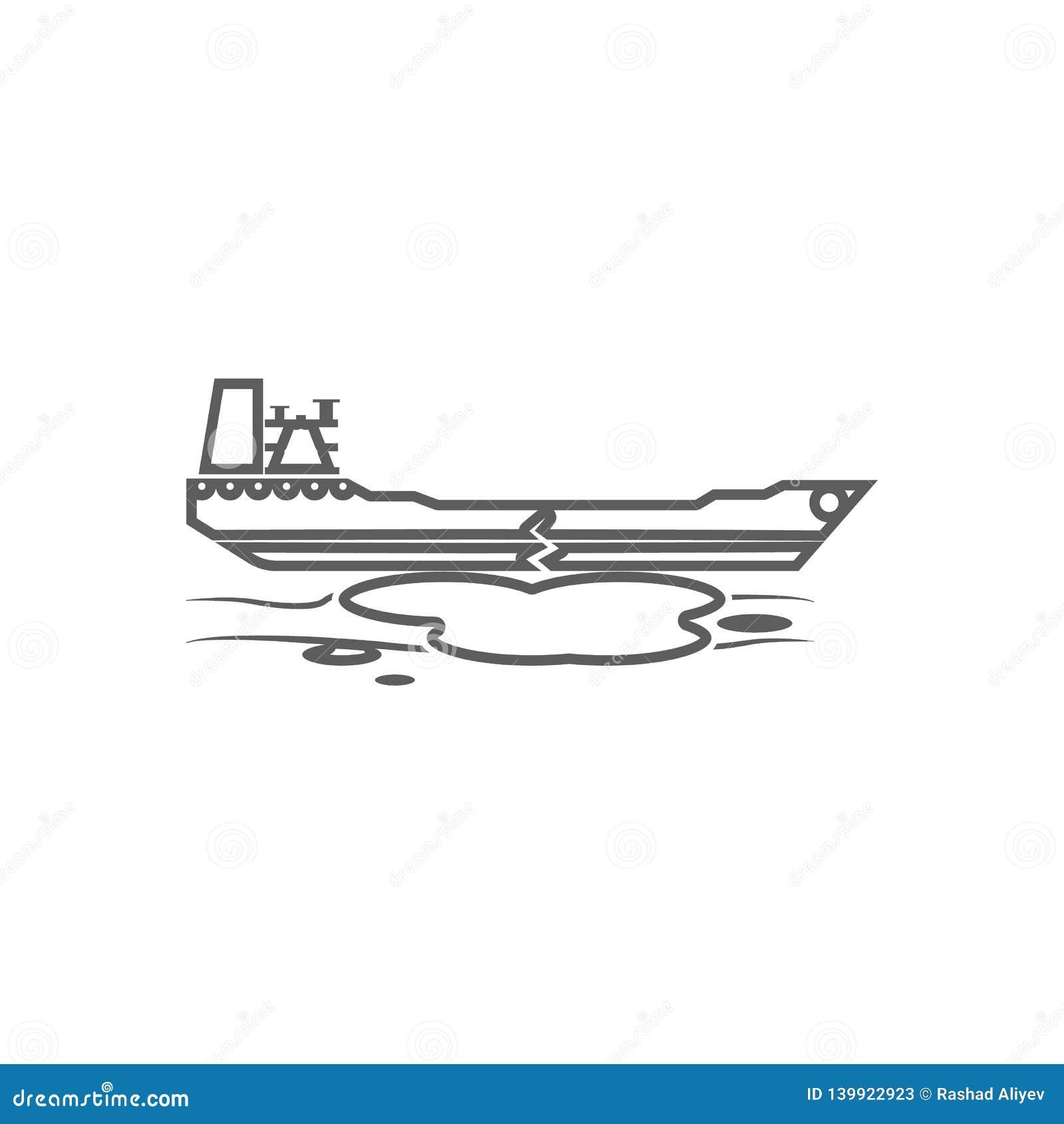 Desplome de un icono del buque de petróleo Elemento del aceite para el concepto y el icono móviles de los apps de la web Esquema,