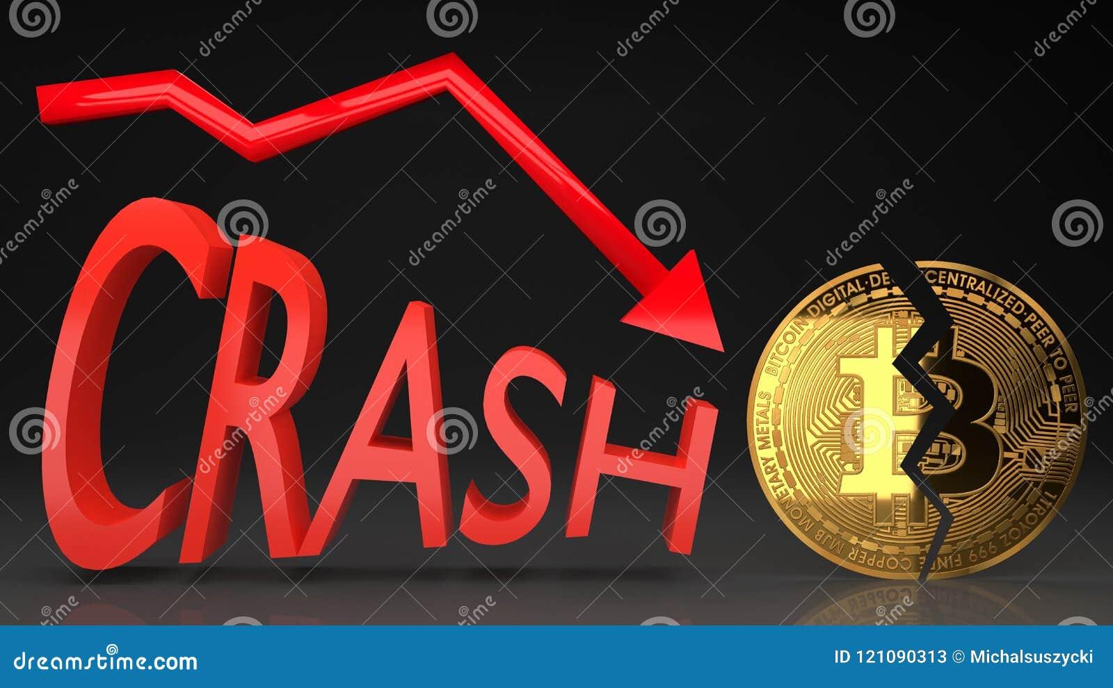 Desplome del precio de la burbuja de Bitcoin, gráfico del valor que va abajo