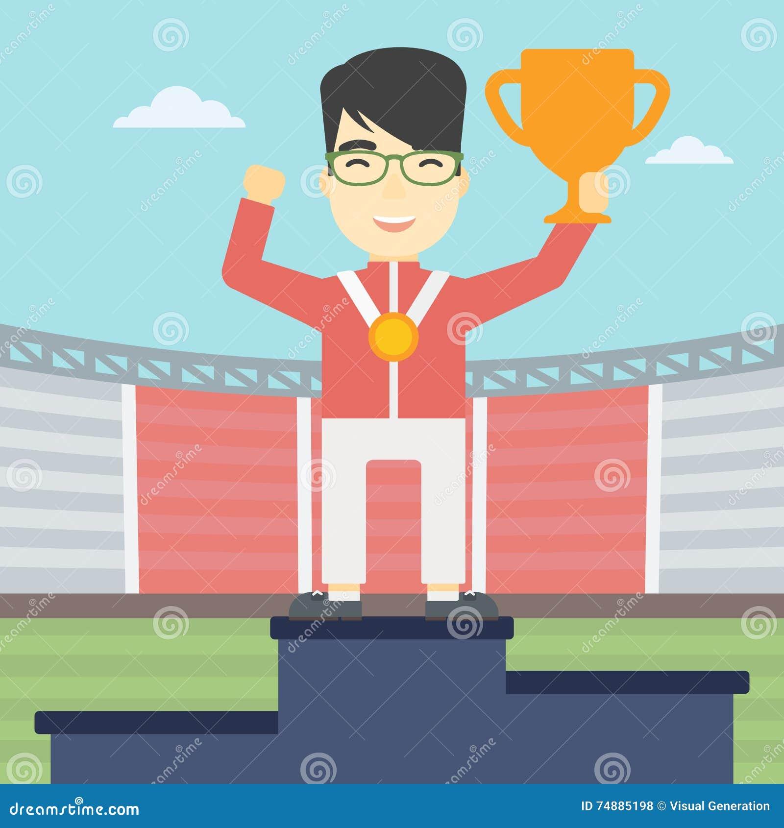 Desportista que comemora no pódio dos vencedores