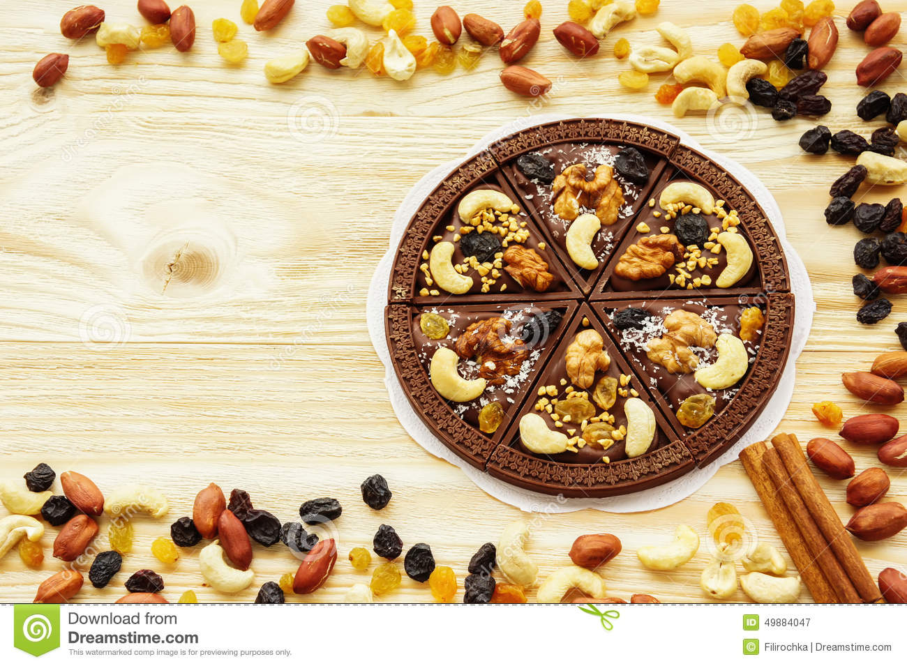 Dessert Chocolate Pizza With Raisins And Nuts Stock Photo - Image ...