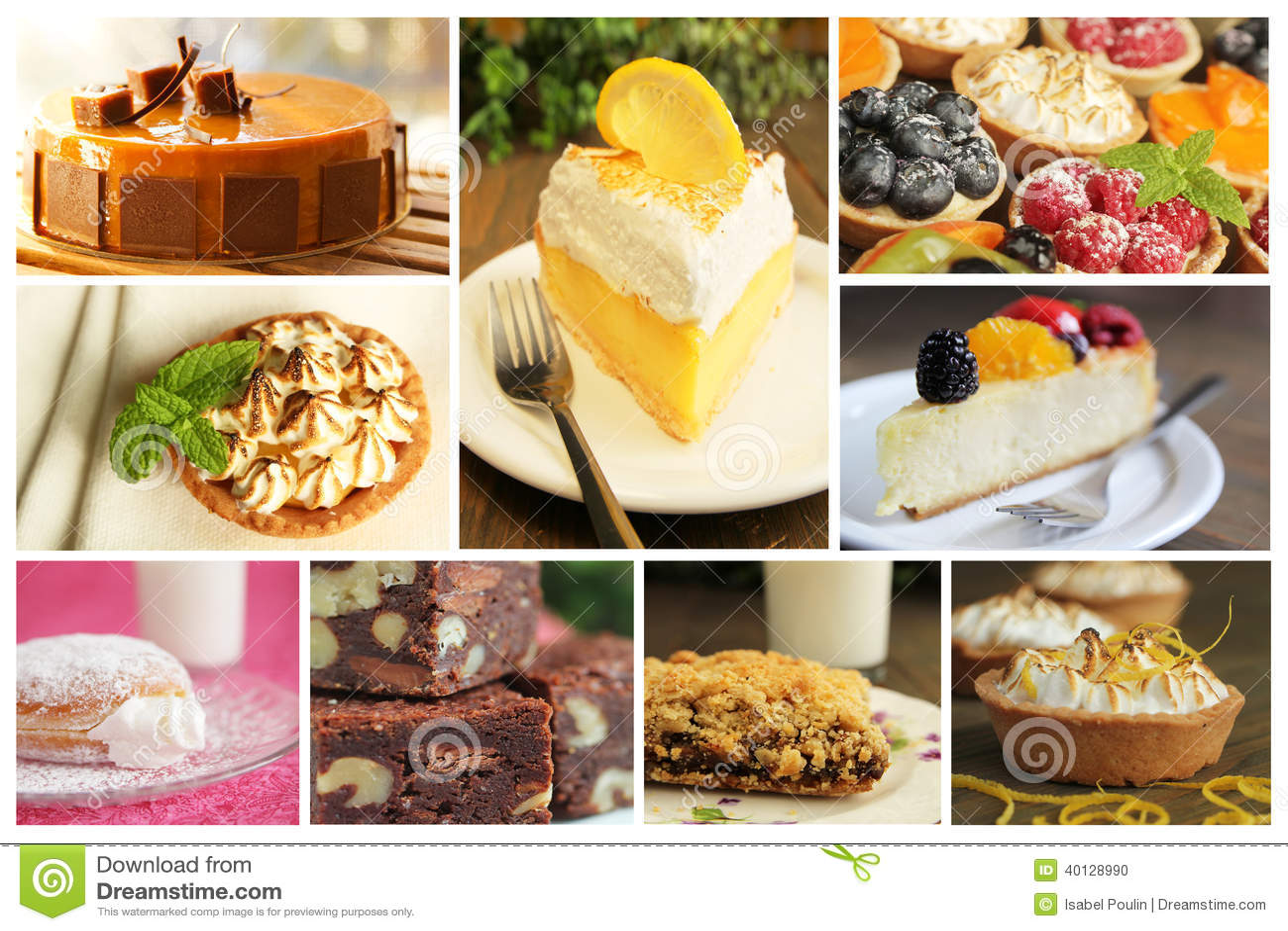 Dessert Collage Stock Photo Image 40128990