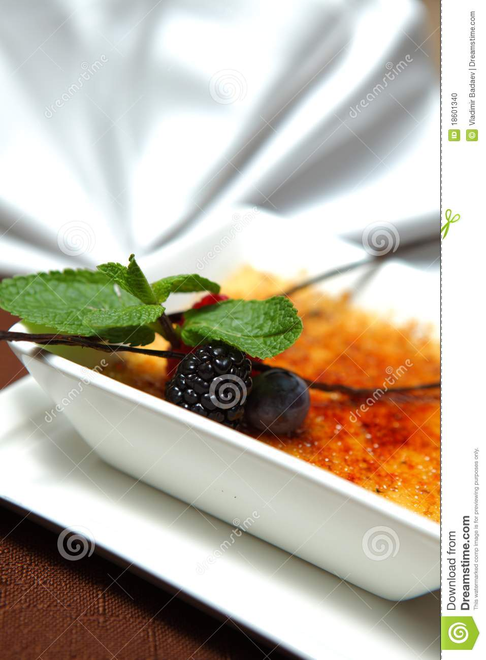 Ginger Brulee With Buried Blackberries Recipe — Dishmaps