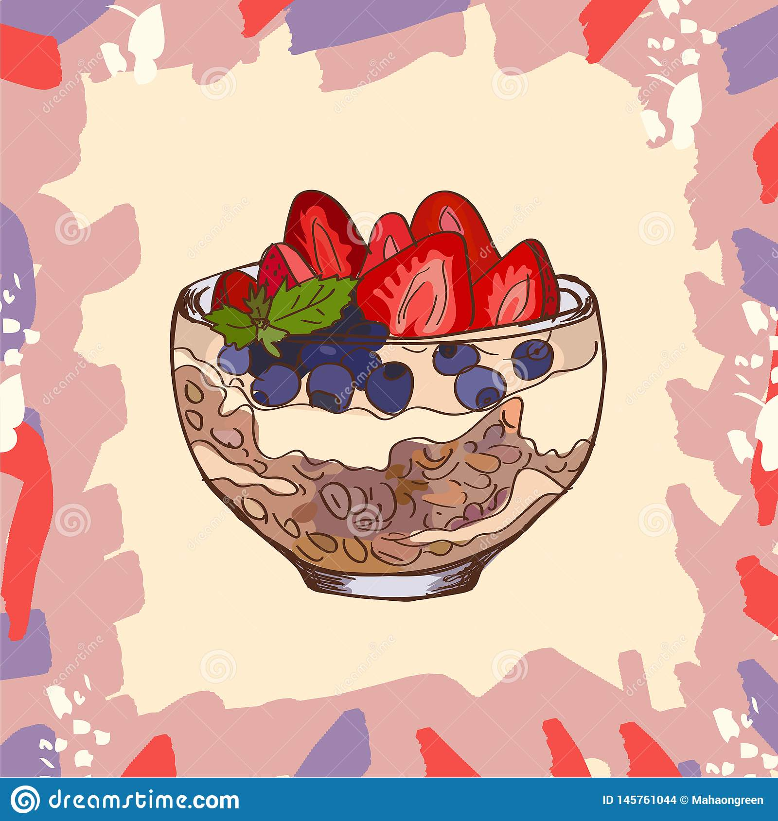 Dessert de parfait avec l image de style de croquis de granola, de myrtille, de fraise et de yaourt Illustration tir?e par la mai
