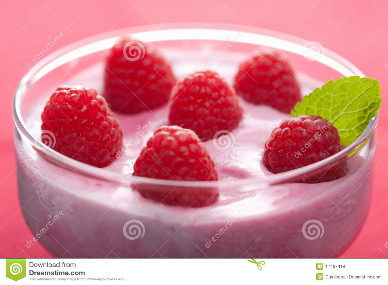 dessert with fresh raspberries royalty free stock photos