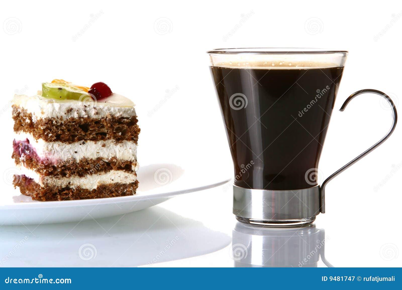 Dessert Fruit Cake With Black Coffee Breakfast Design
