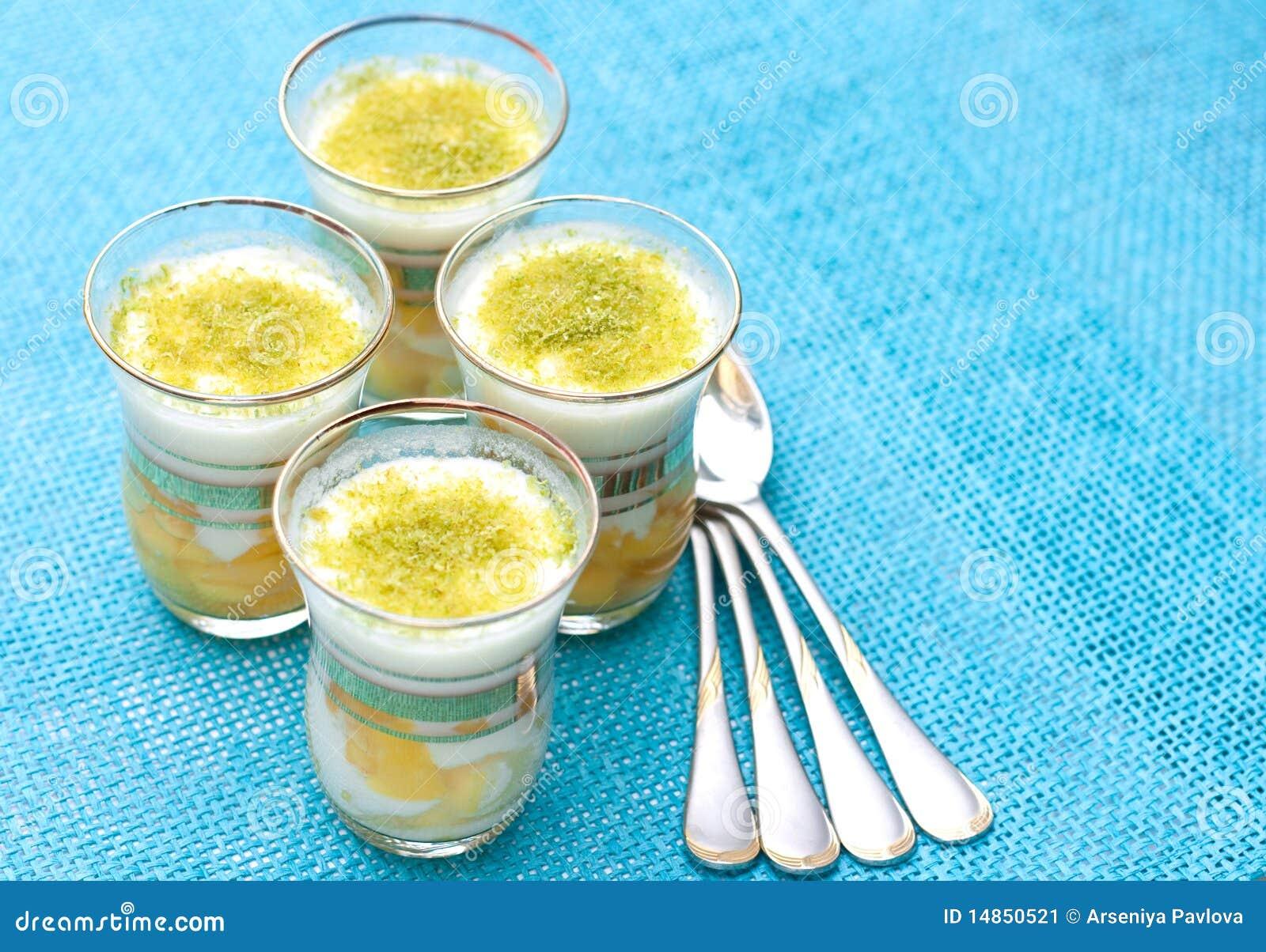 Dessert with mango