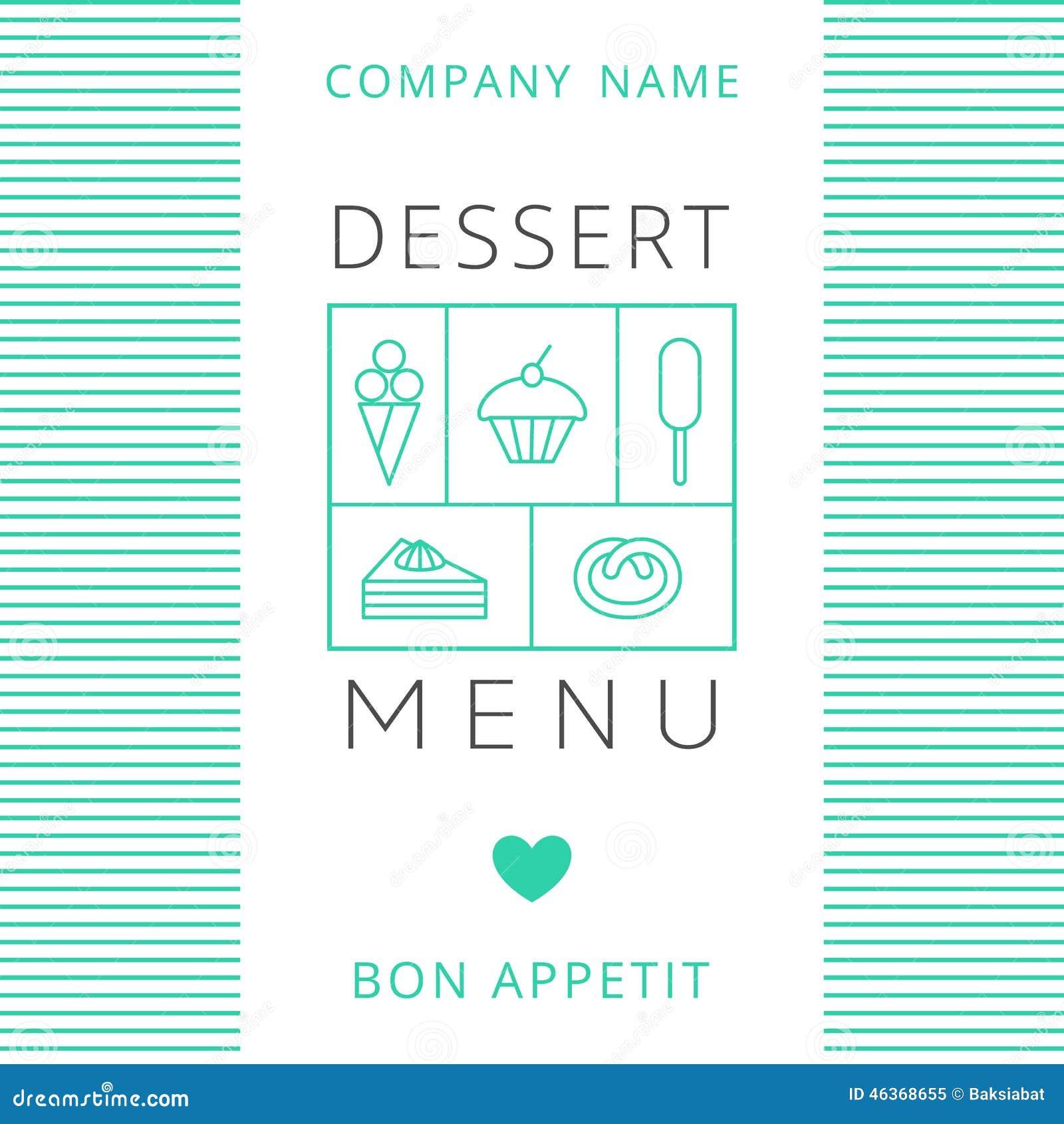 dessert menu card design template stock vector illustration of icon cream 46368655. Black Bedroom Furniture Sets. Home Design Ideas