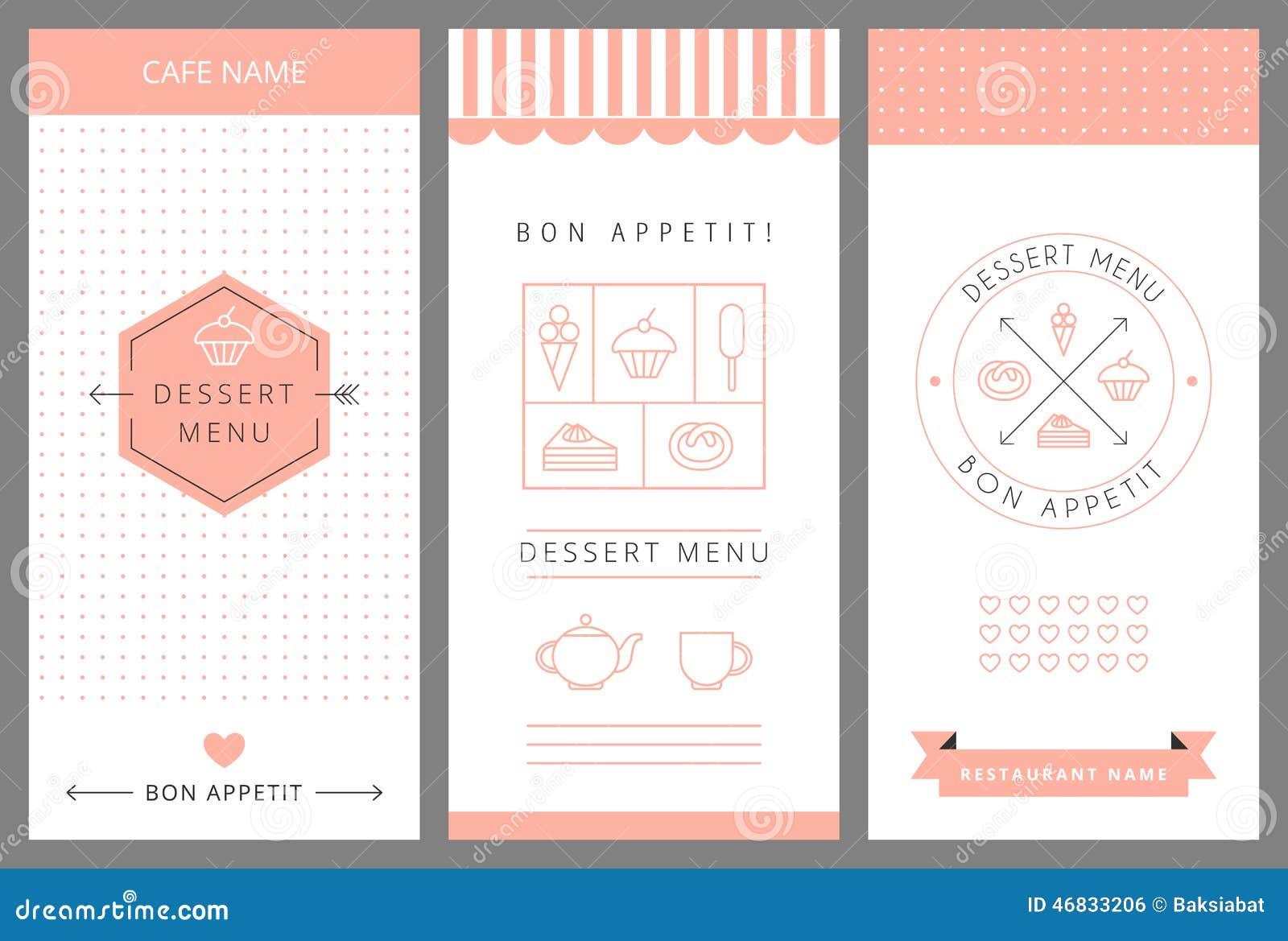 dessert menu card design template stock vector image 46833206. Black Bedroom Furniture Sets. Home Design Ideas