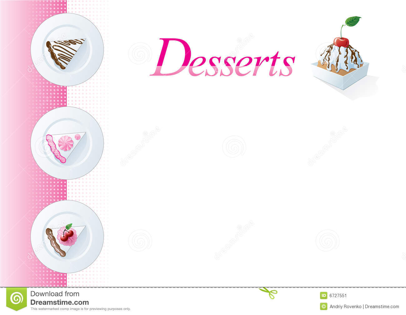 dessert menu template stock vector illustration of sponge 6727551