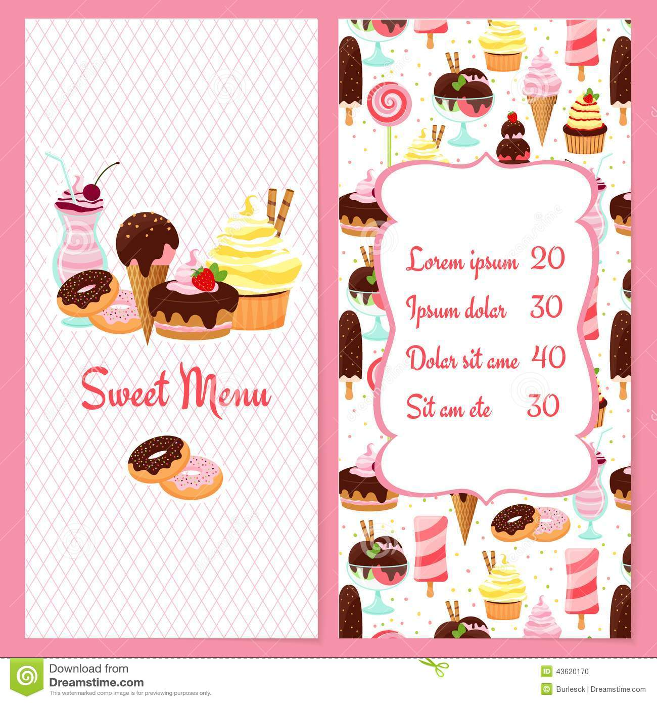 Colorful vector dessert menu template for restaurants with a framed ...