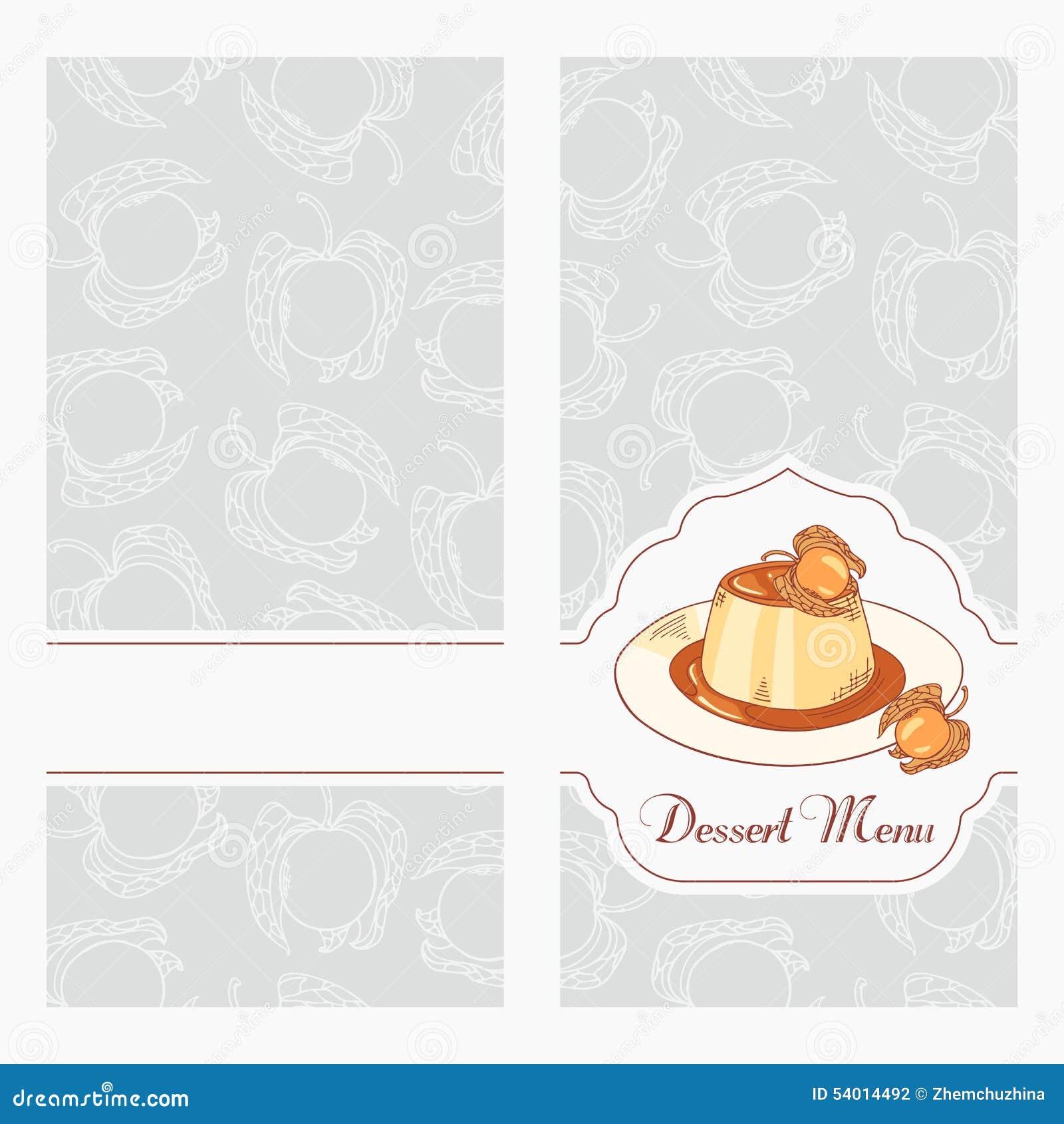 dessert menu template design for cafe creme caramel on plate in vector stock vector. Black Bedroom Furniture Sets. Home Design Ideas