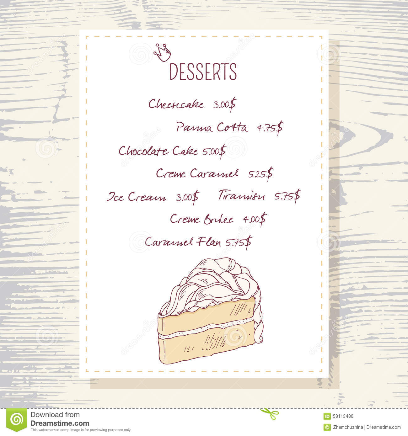 Dessert Menu Template With Sweet Vanilla Cake Stock Vector - Image ...