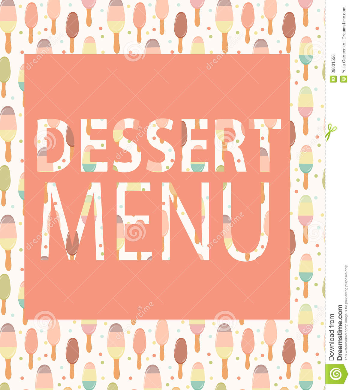 Dessert Menu Template. Vector Illustration Royalty Free Stock ...