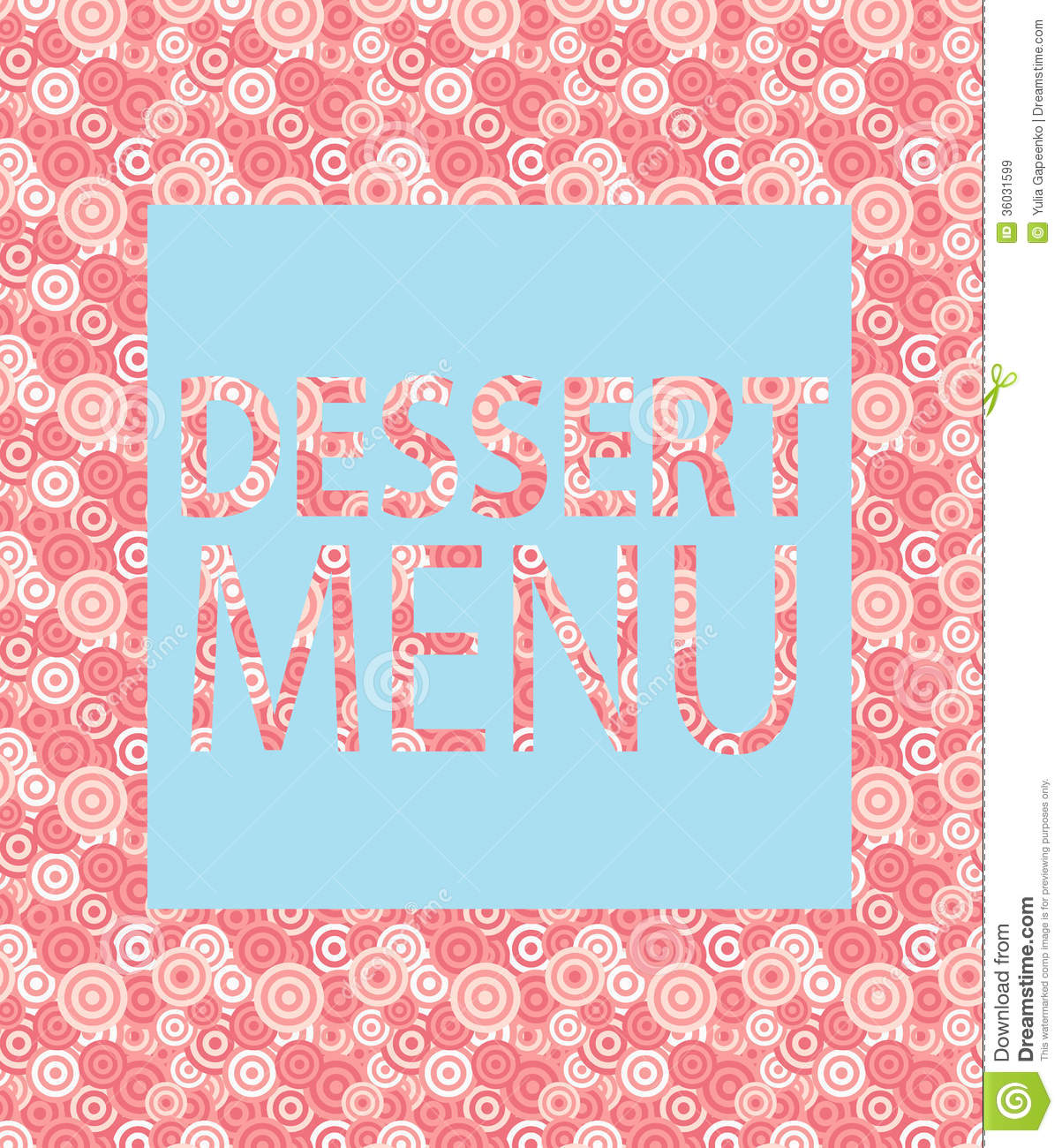 dessert menu template vector illustration stock vector