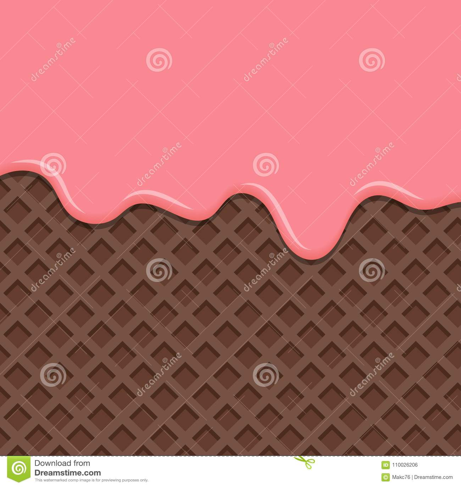Dessert met roze die room, op wafeltjeachtergrond wordt gesmolten