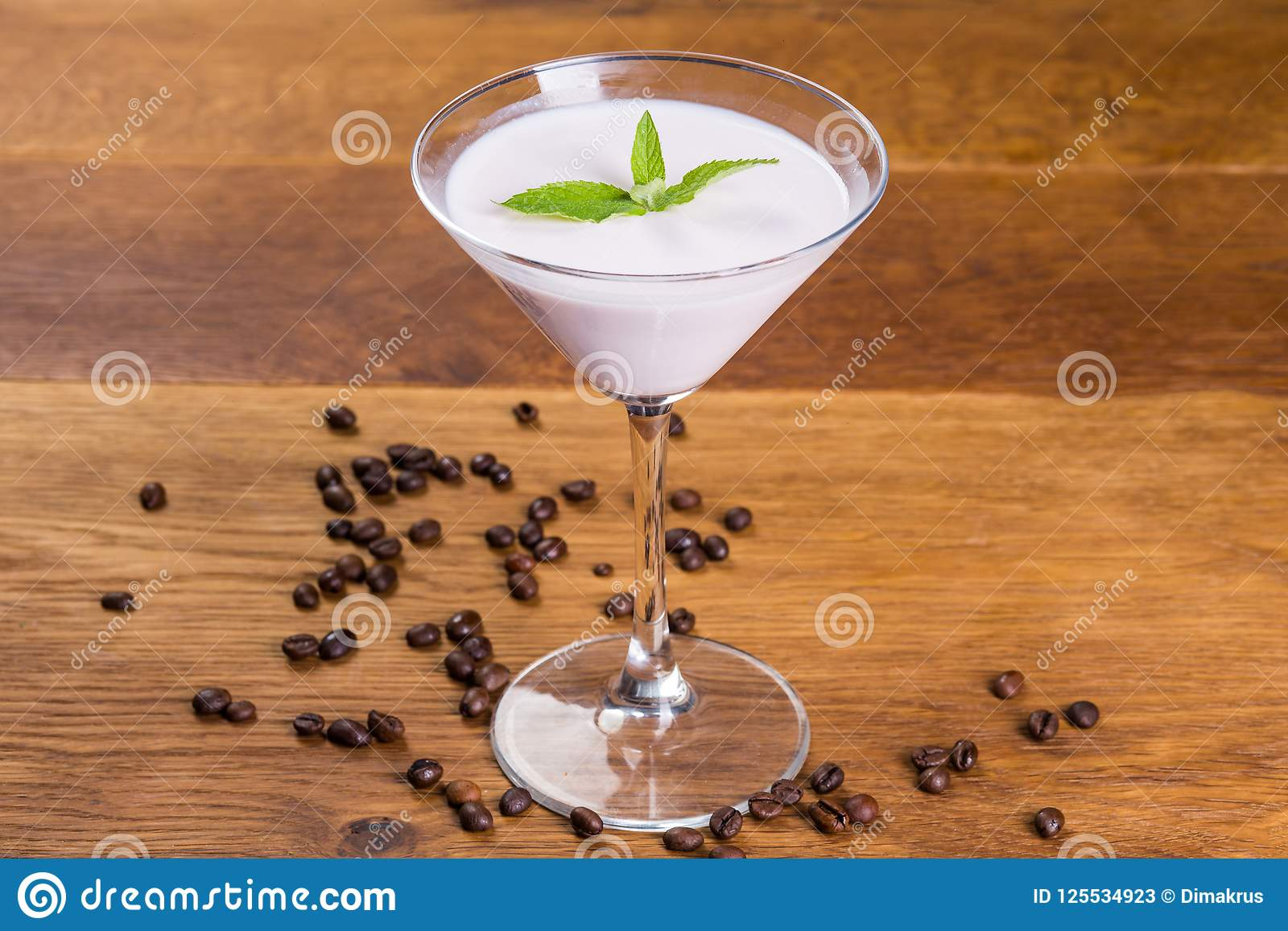 Dessert. Milk pudding with vanilla aroma and mint lentik