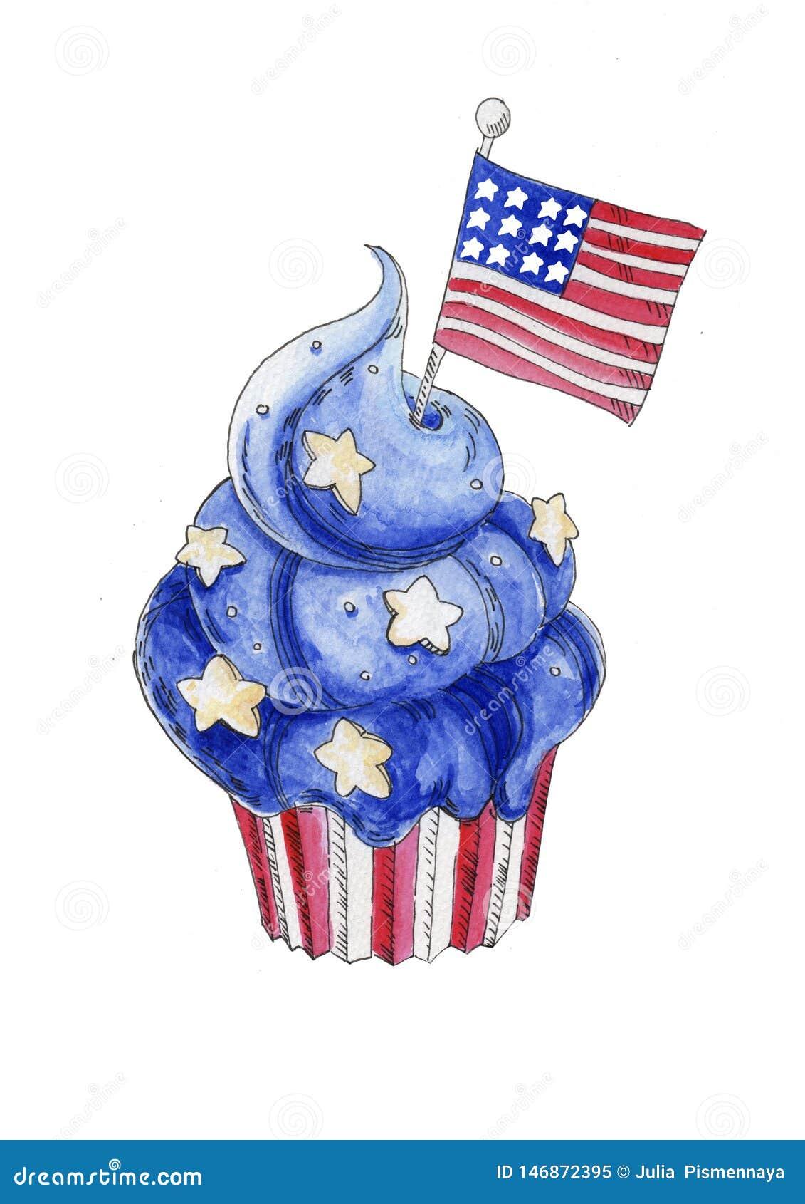 Dessert patriotique bleu d aquarelle peinte à la main