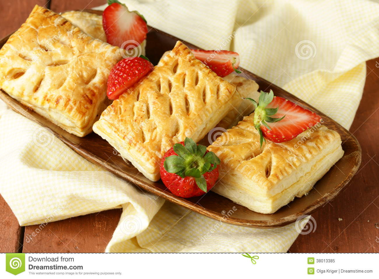 Dessert Patties Puff Pastry With Strawberries Royalty Free Stock Photo ...