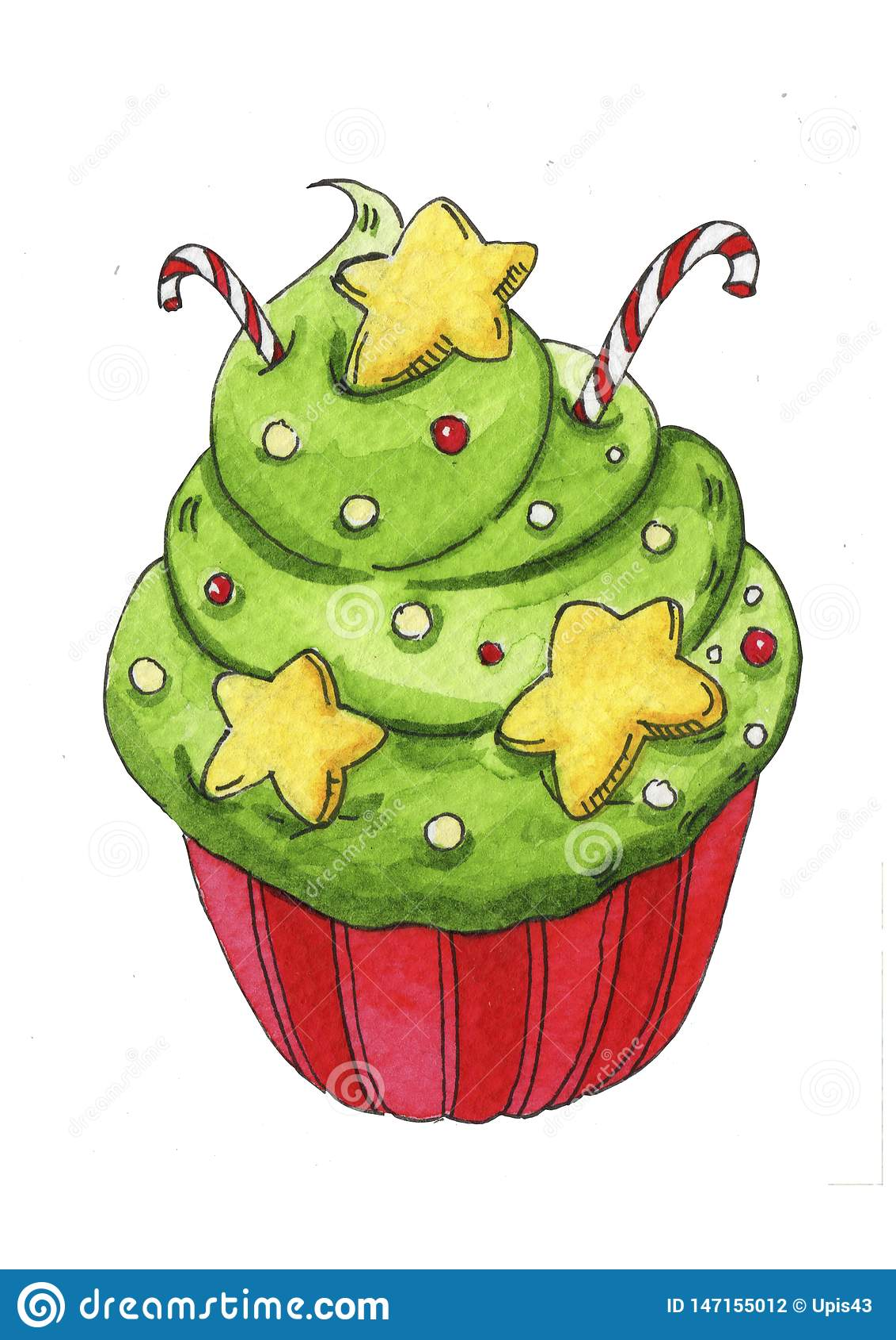 Dessert peint à la main d aquarelle pour Noël