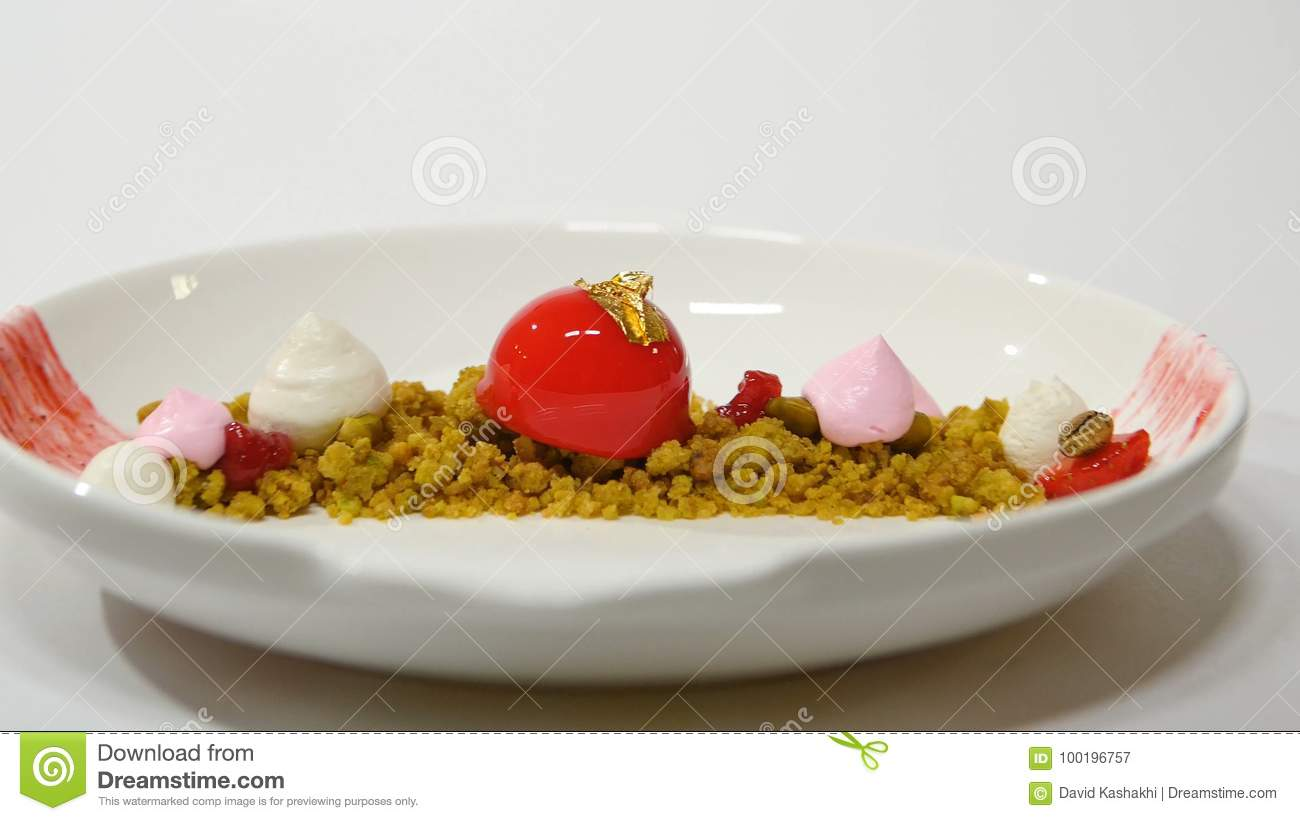 Dessert On The Plate On White Background Beautiful Delicious Dessert On The Plate The Presentation Of The Desserts In Stock Image Image Of Layers Indulgence 100196757