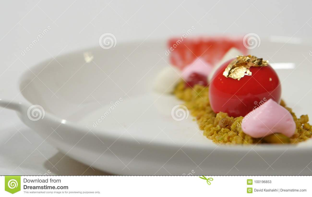 Dessert On The Plate On White Background Beautiful Delicious Dessert On The Plate The Presentation Of The Desserts In Stock Image Image Of Copyspace Luxury 100196853