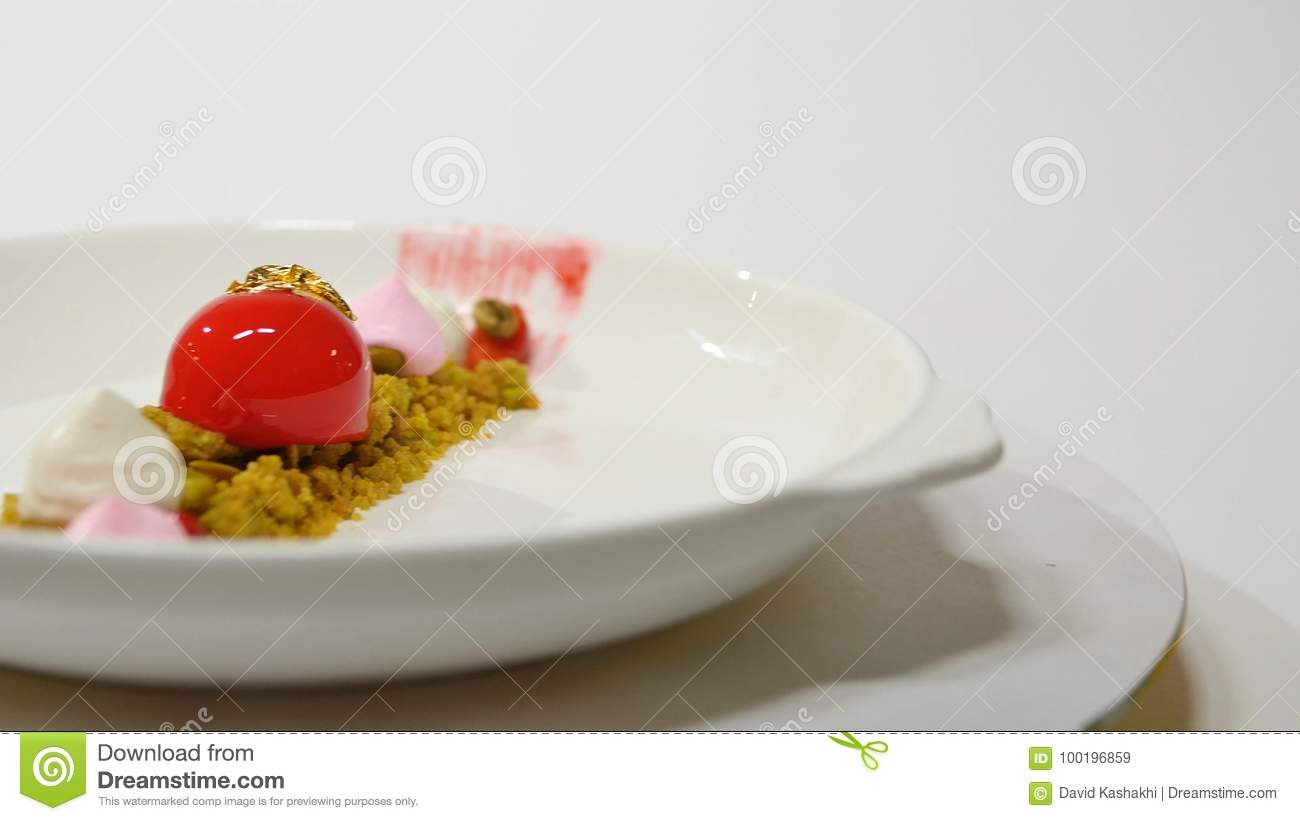Dessert On The Plate On White Background Beautiful Delicious Dessert On The Plate The Presentation Of The Desserts In Stock Image Image Of Copyspace Food 100196859