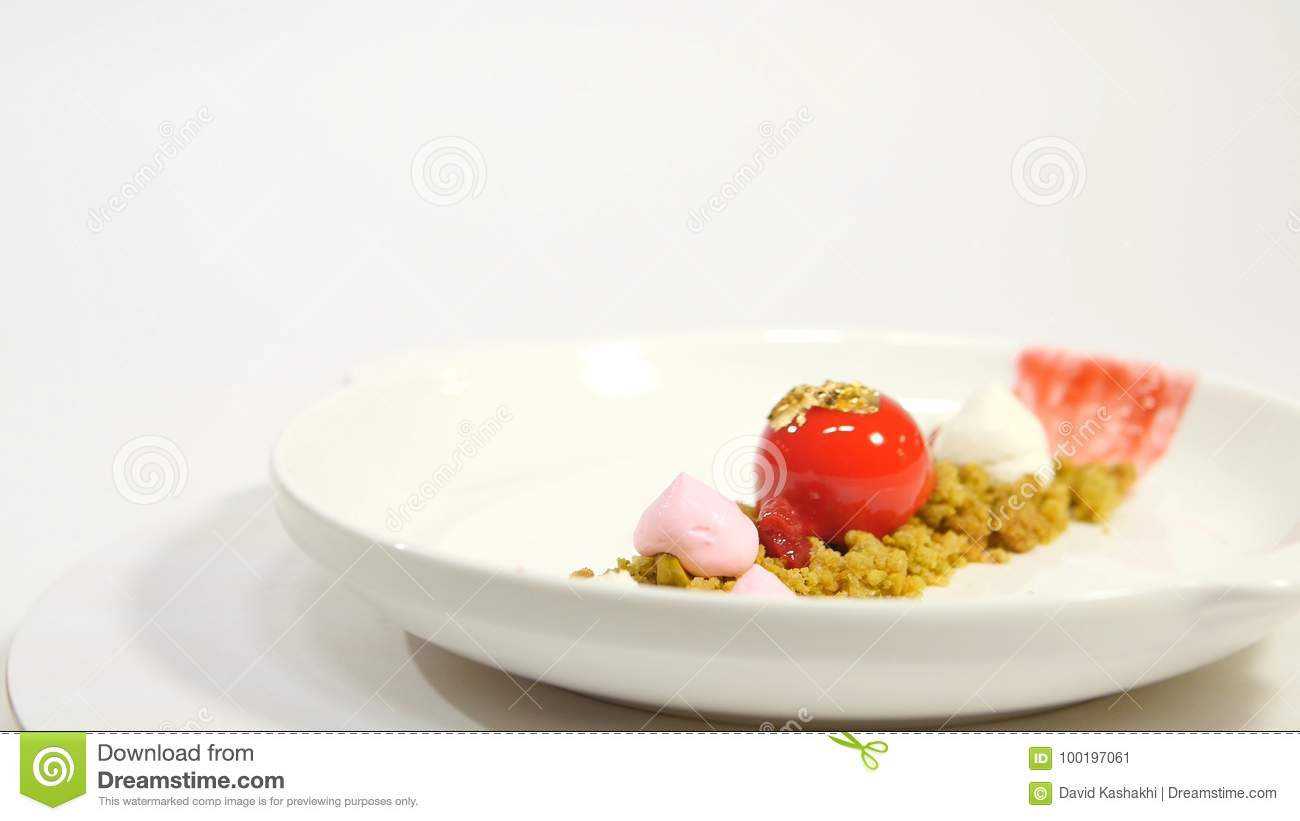 Dessert On The Plate On White Background Beautiful Delicious Dessert On The Plate The Presentation Of The Desserts In Stock Image Image Of Blueberry Baked 100197061