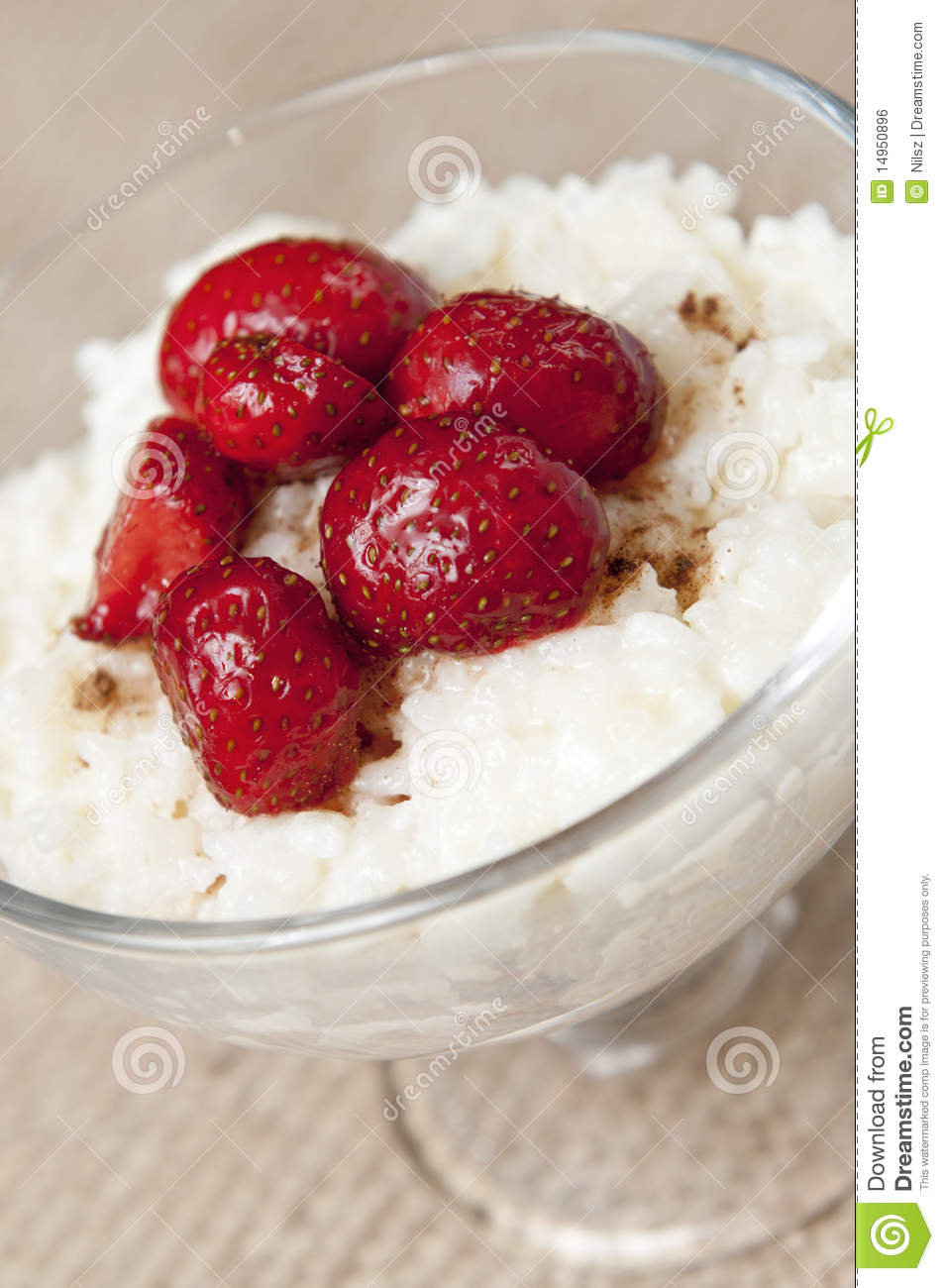 Dessert Rice Pudding With Strawberries Royalty Free Stock Image ...