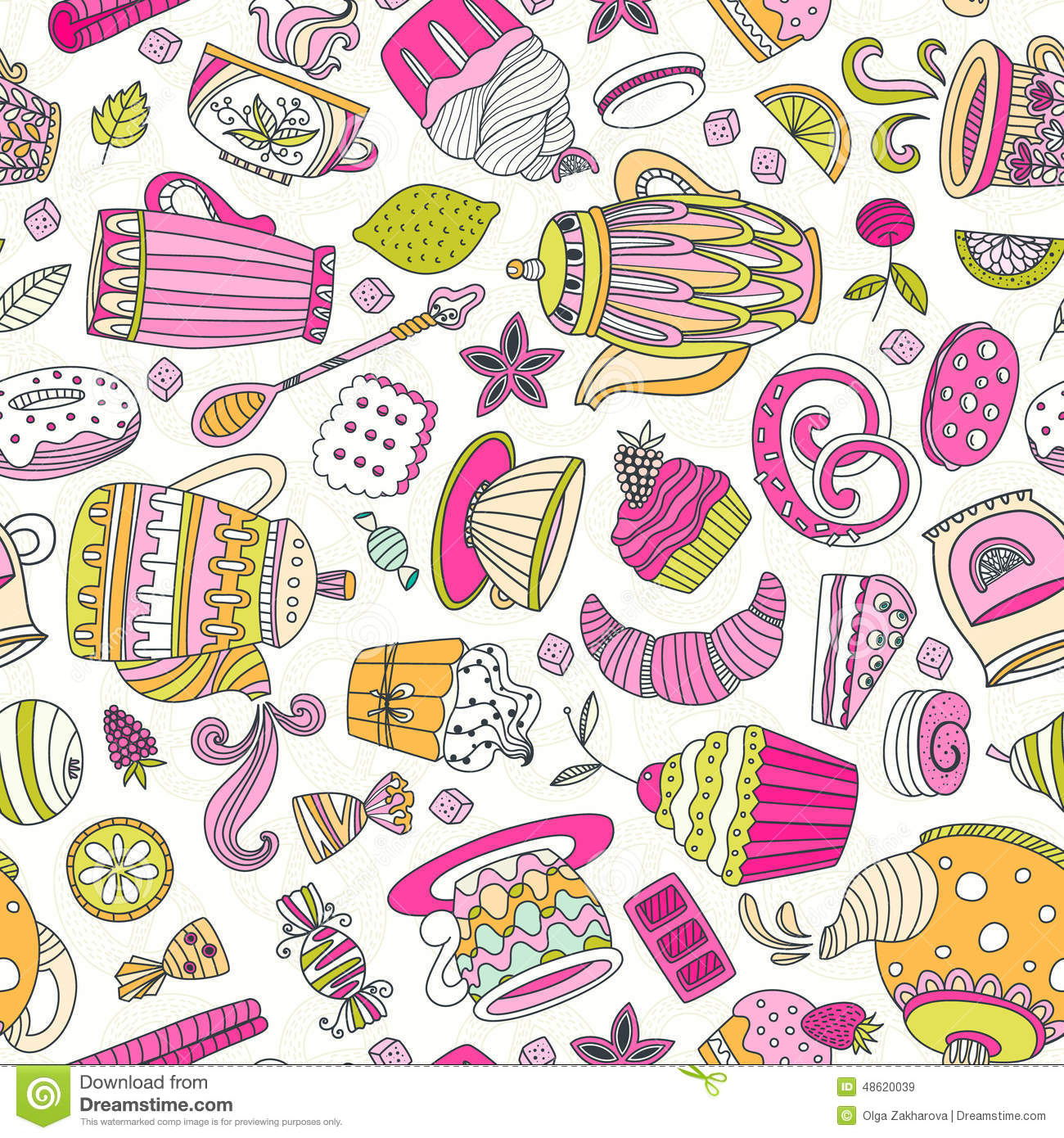 Dessert Seamless Pattern Stock Vector Image 48620039