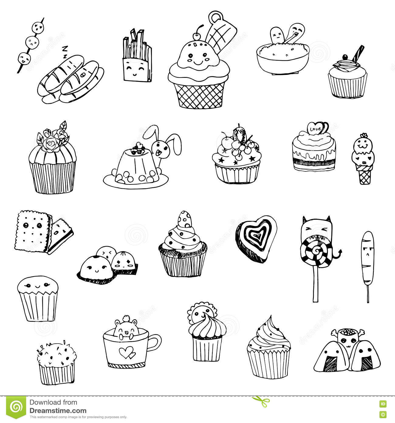 Dessert Sweet Drawing Doodle Line Vector On White