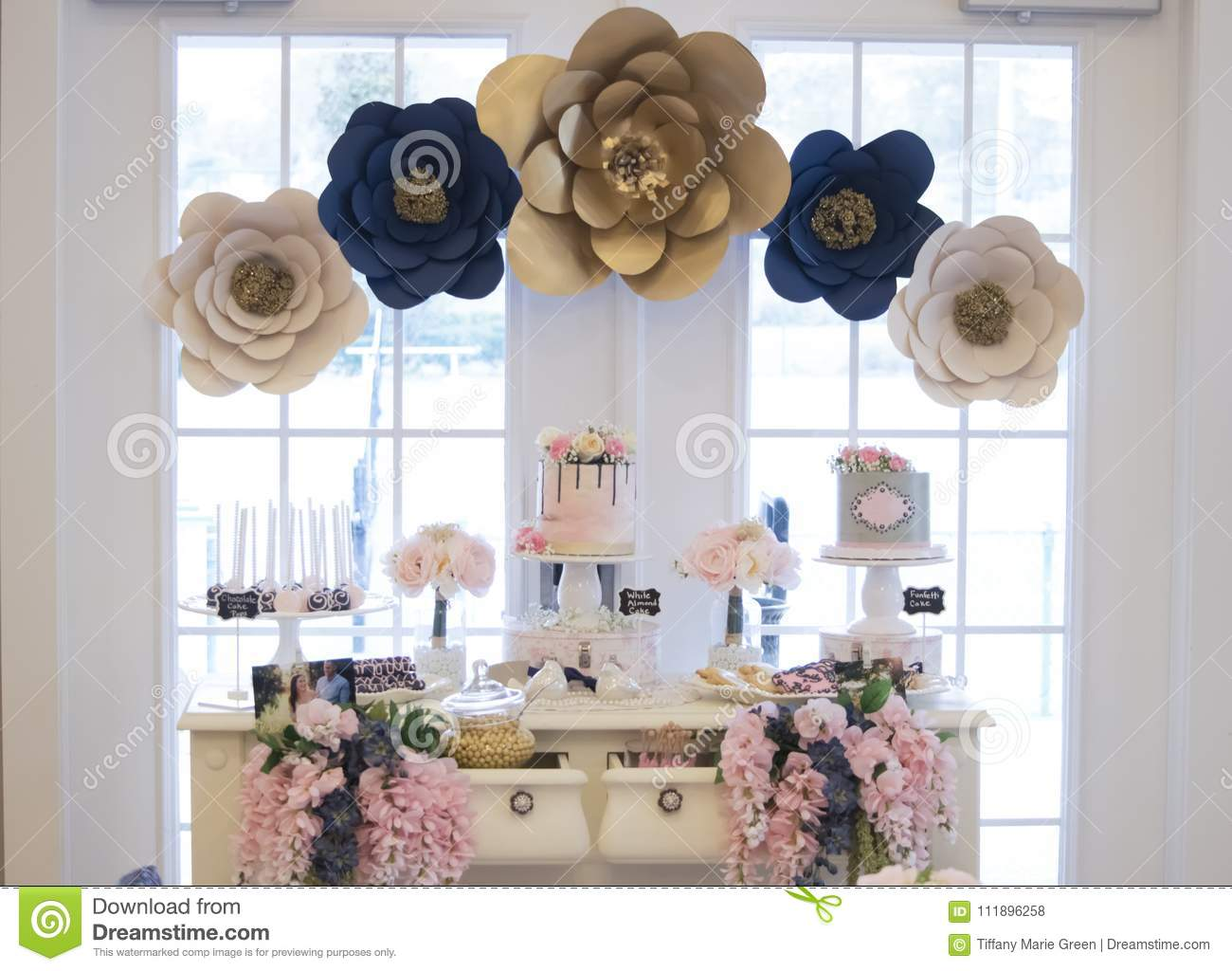 The Dessert Table At A Bridal Shower Stock Photo Image