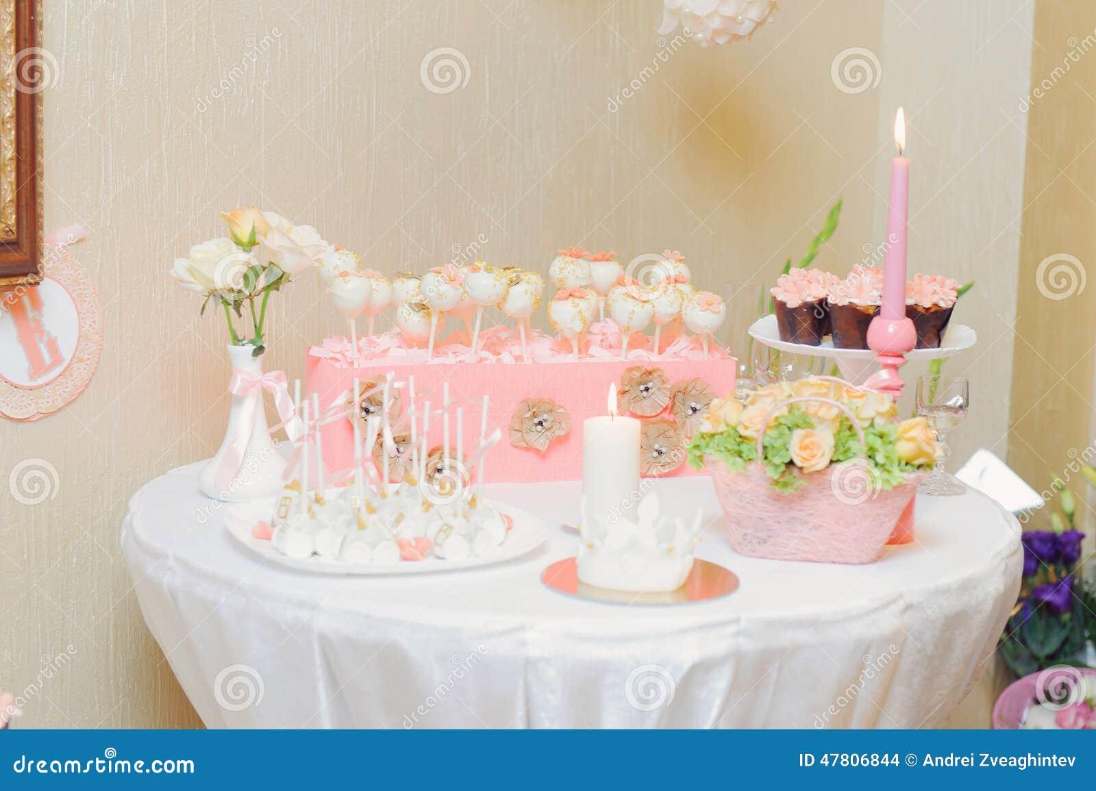 dessert table at restaurant stock photo - image: 47806844