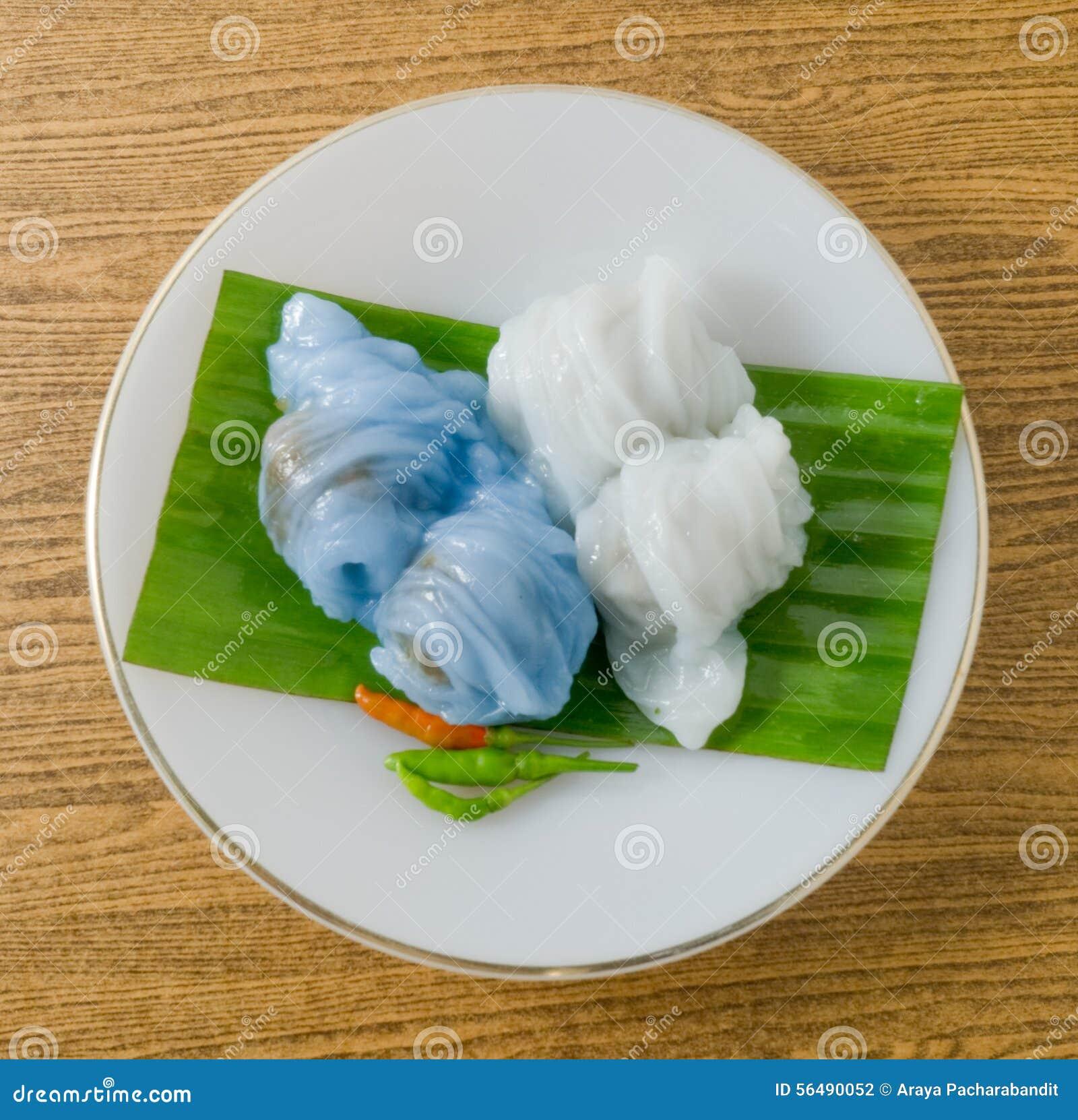 Dessert thaïlandais de boulette cuite à la vapeur de peau de riz