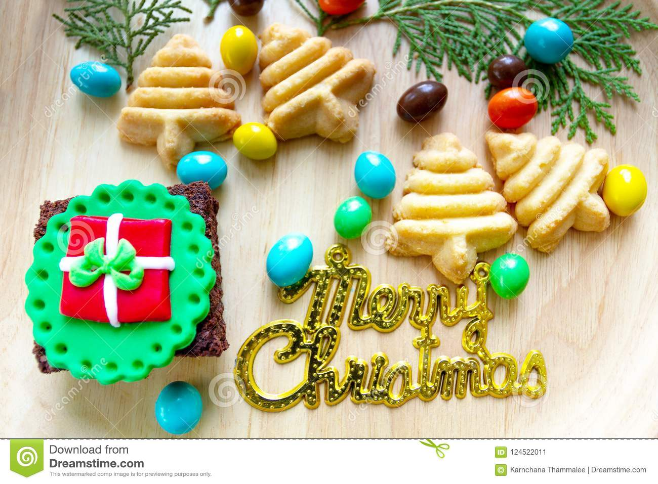 Dessert And Wording With Merry Christmas Stock Image Image Of Food