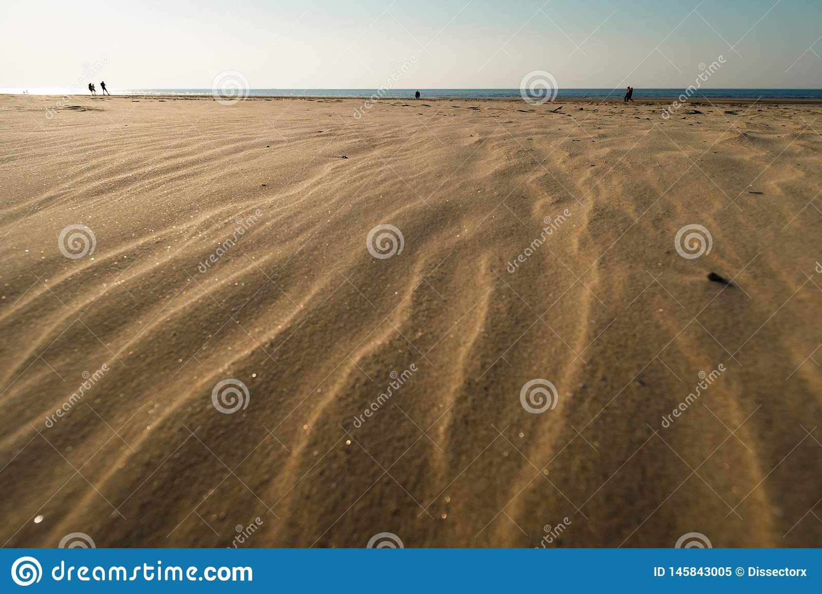 Dessert zoals geweven zand - het strand van de Oostzeegolf met wit zand in de zonsondergang
