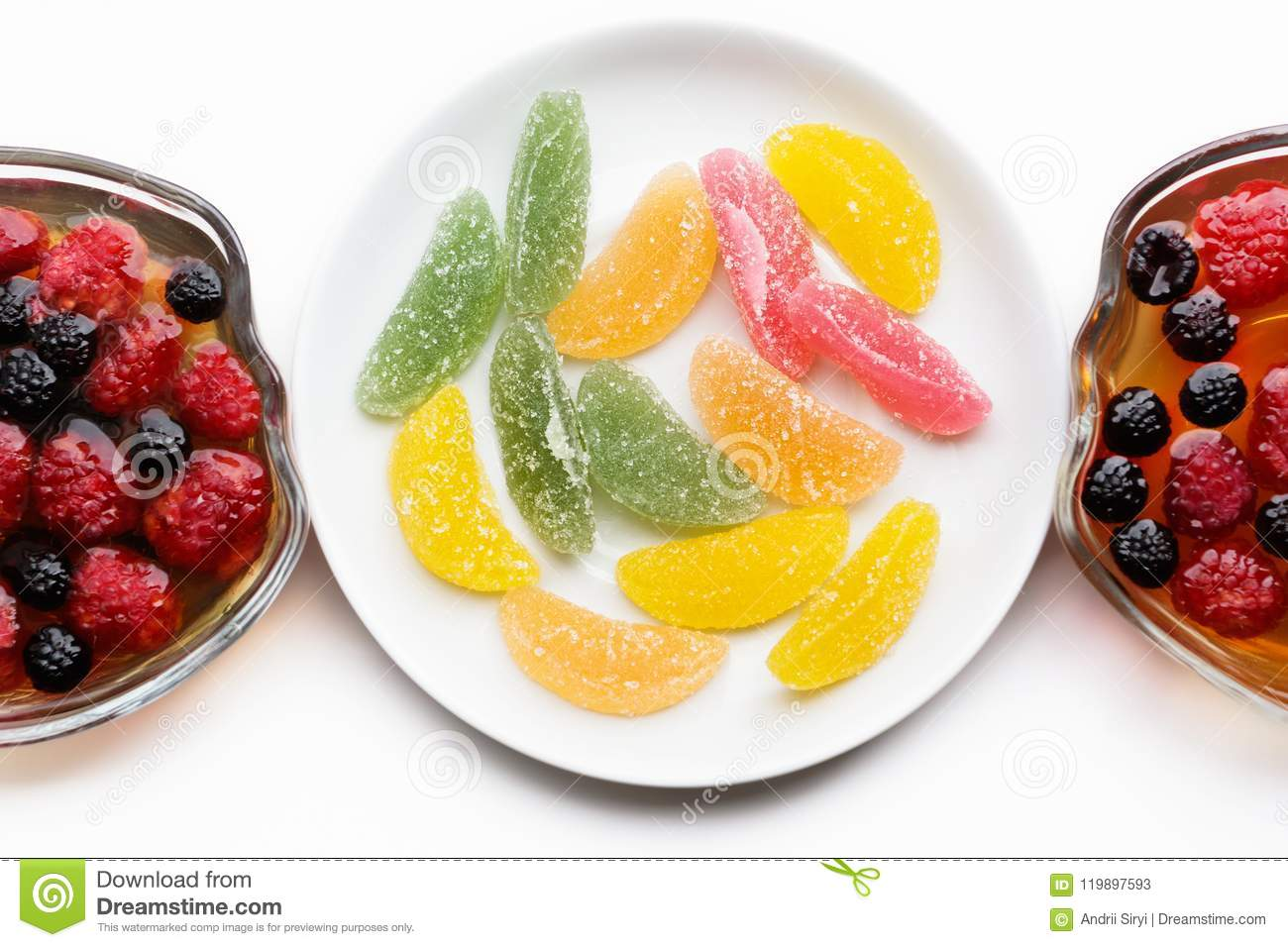 Desserts fruit jelly and marmalade