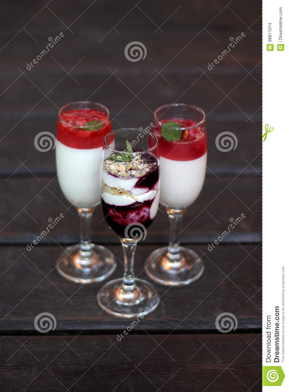 The desserts in the glass