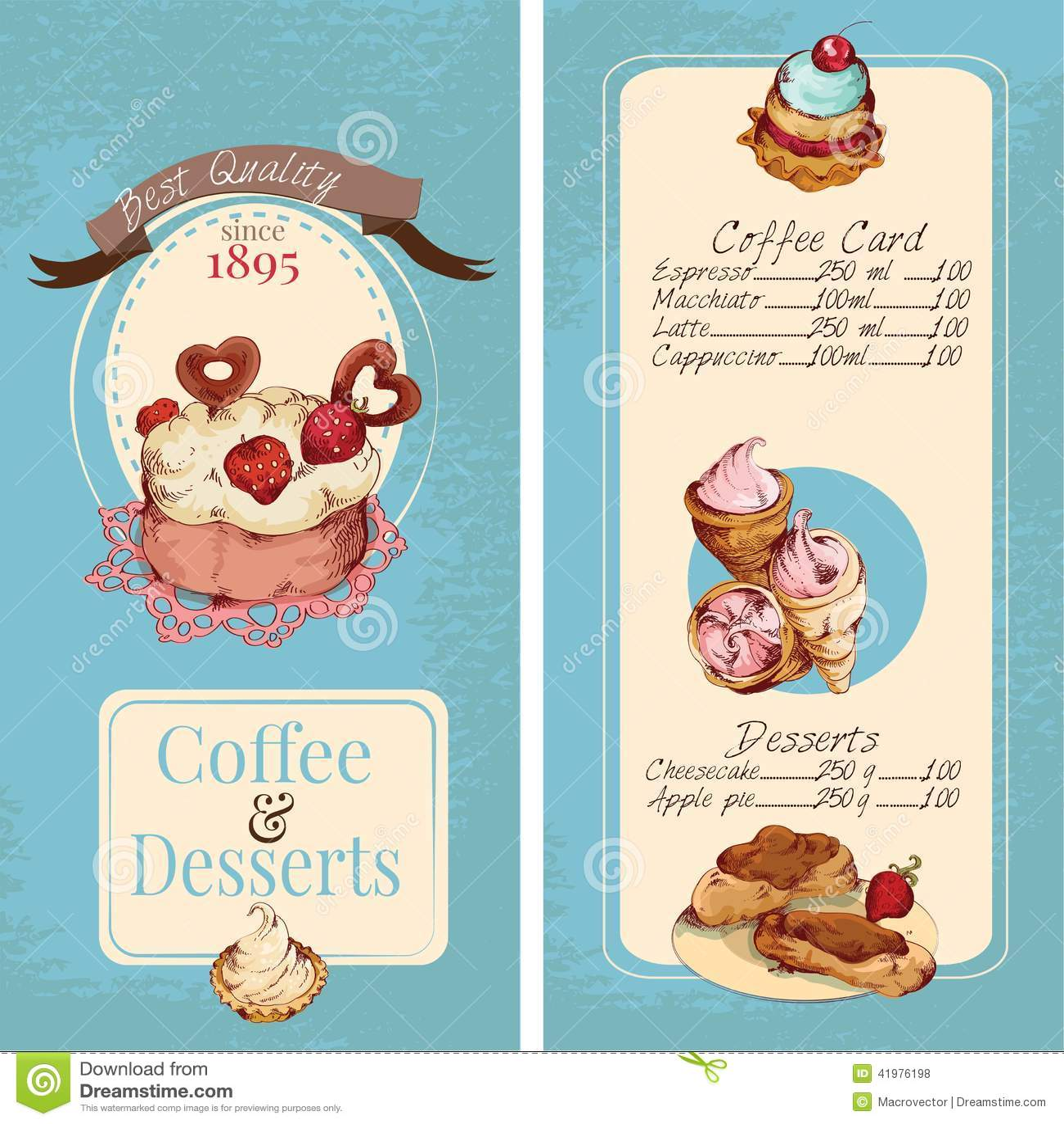 desserts menu template stock vector image 41976198. Black Bedroom Furniture Sets. Home Design Ideas