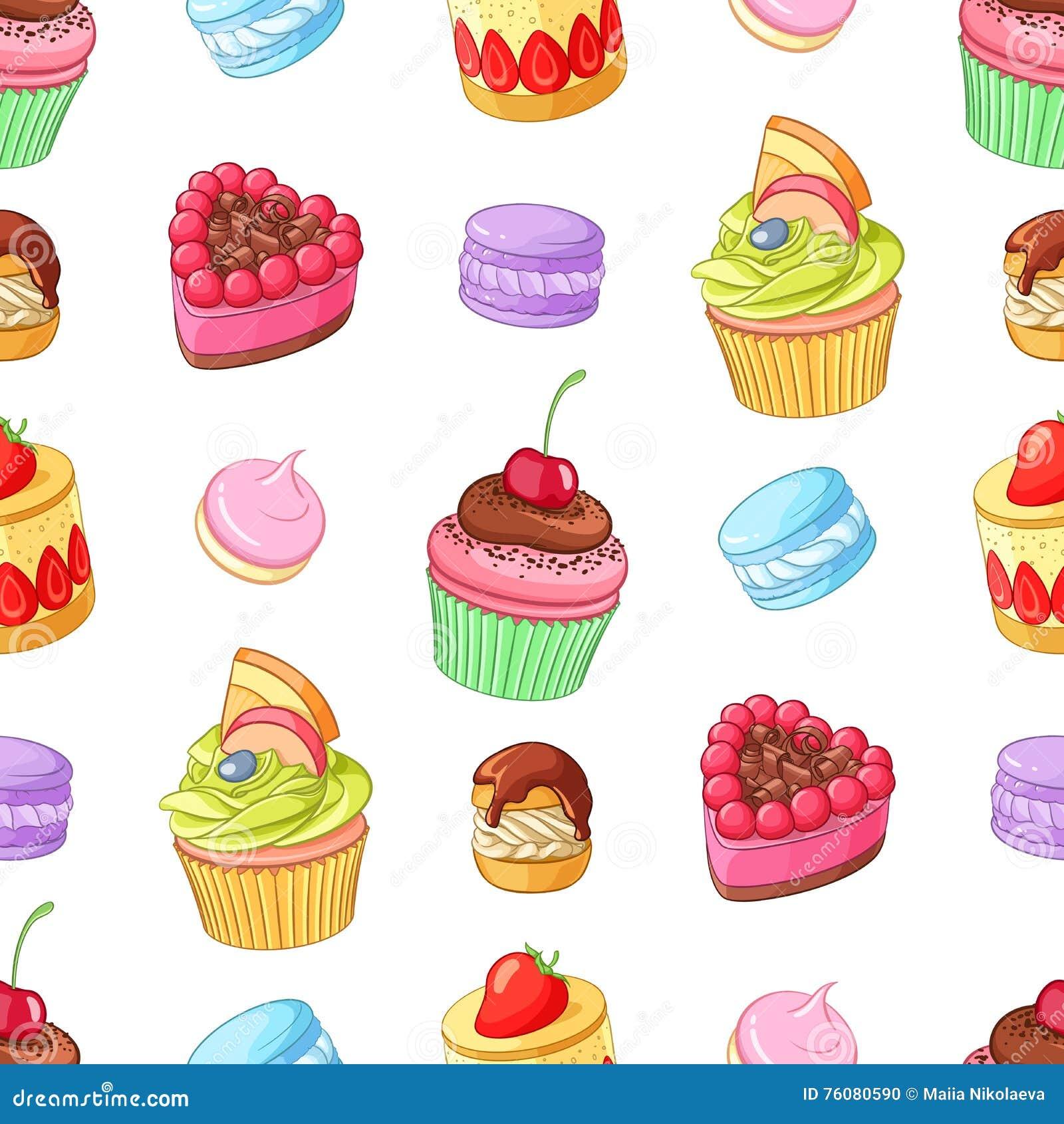 Desserts, petits gâteaux et macarons colorés assortis Configuration sans joint de vecteur