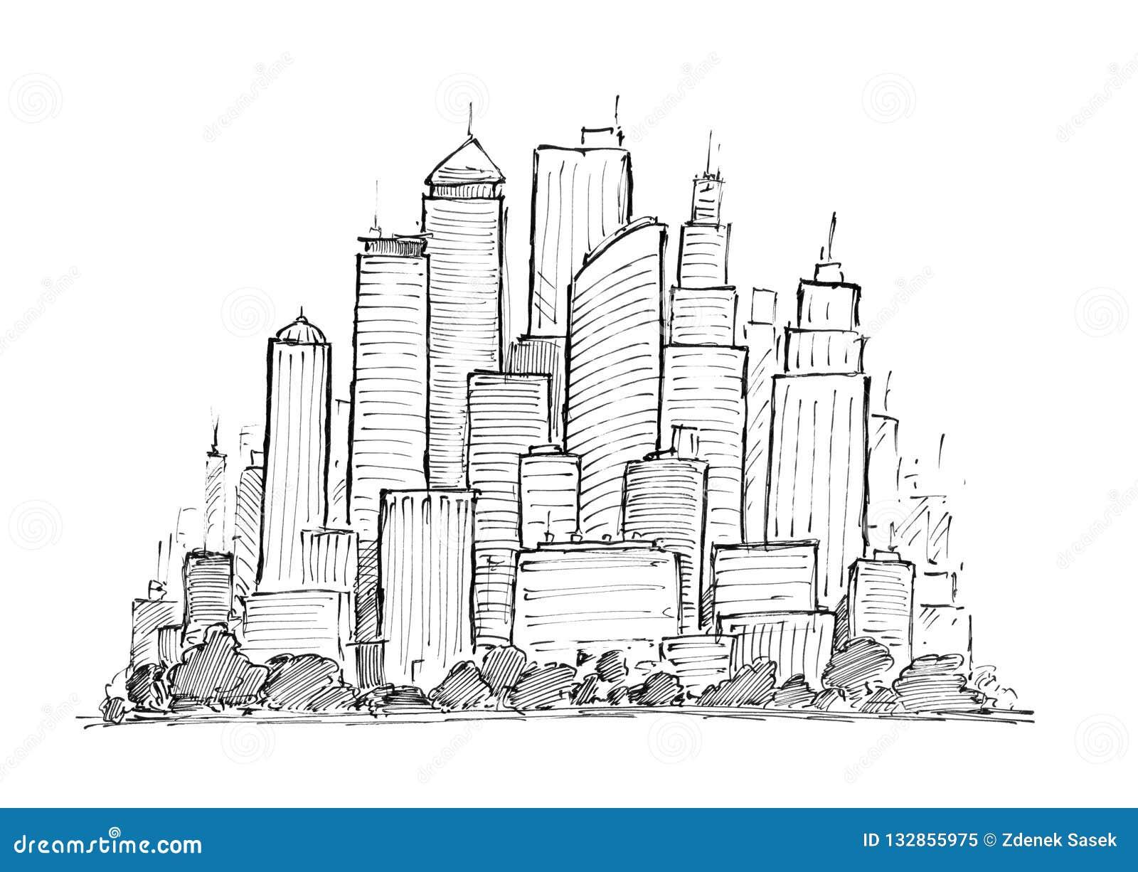 Dessin à l encre noire de main du paysage urbain ayant beaucoup d étages de ville générique avec des bâtiments de gratte-ciel