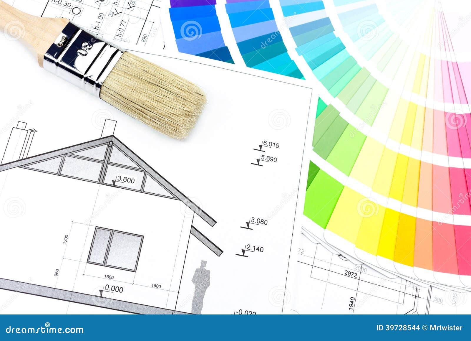 Dessin la maison avec la palette de couleurs photo stock image du concepts papier 39728544 - La maison des couleurs ...