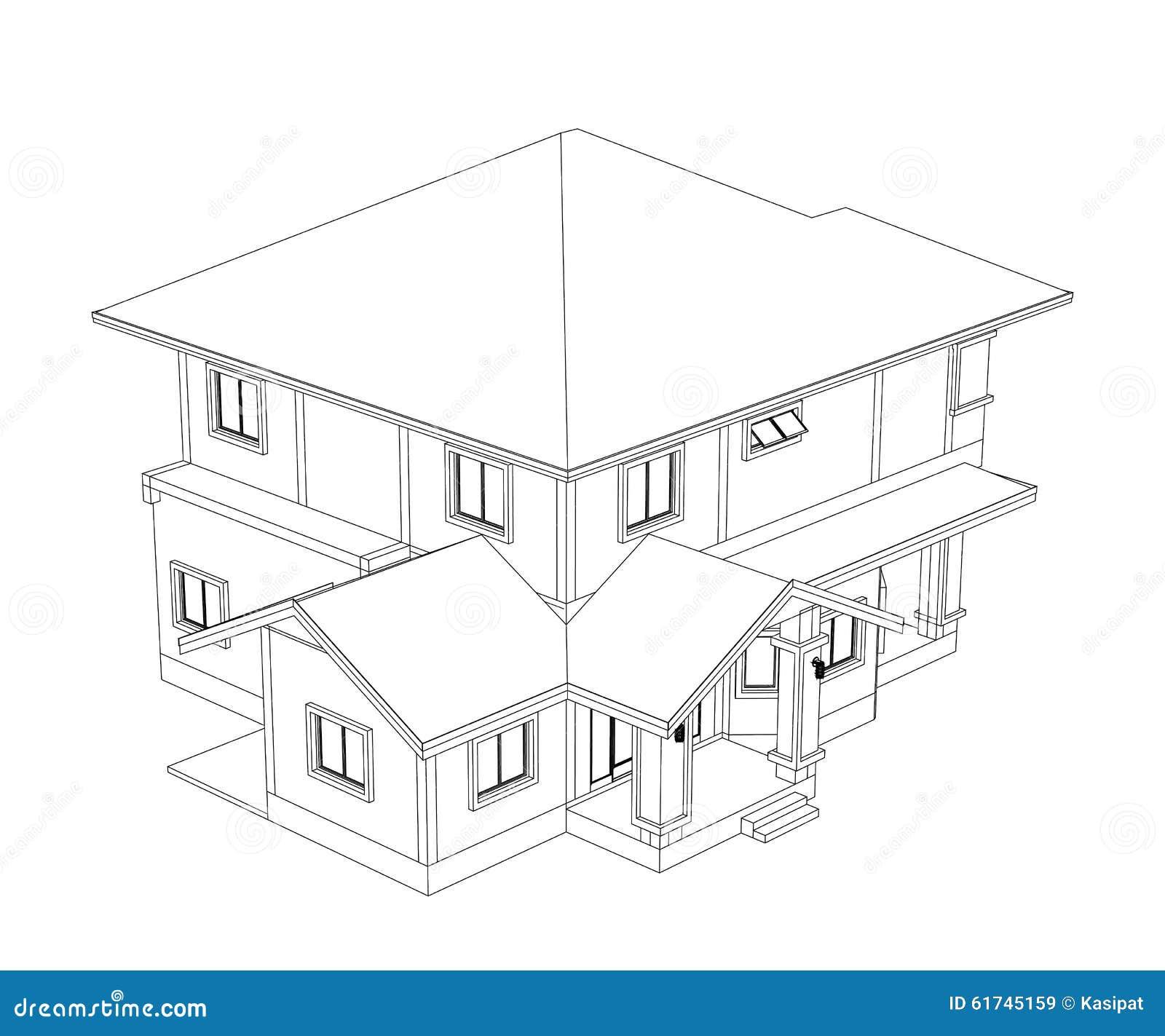 Dessin à La Maison De Construction Illustration Stock